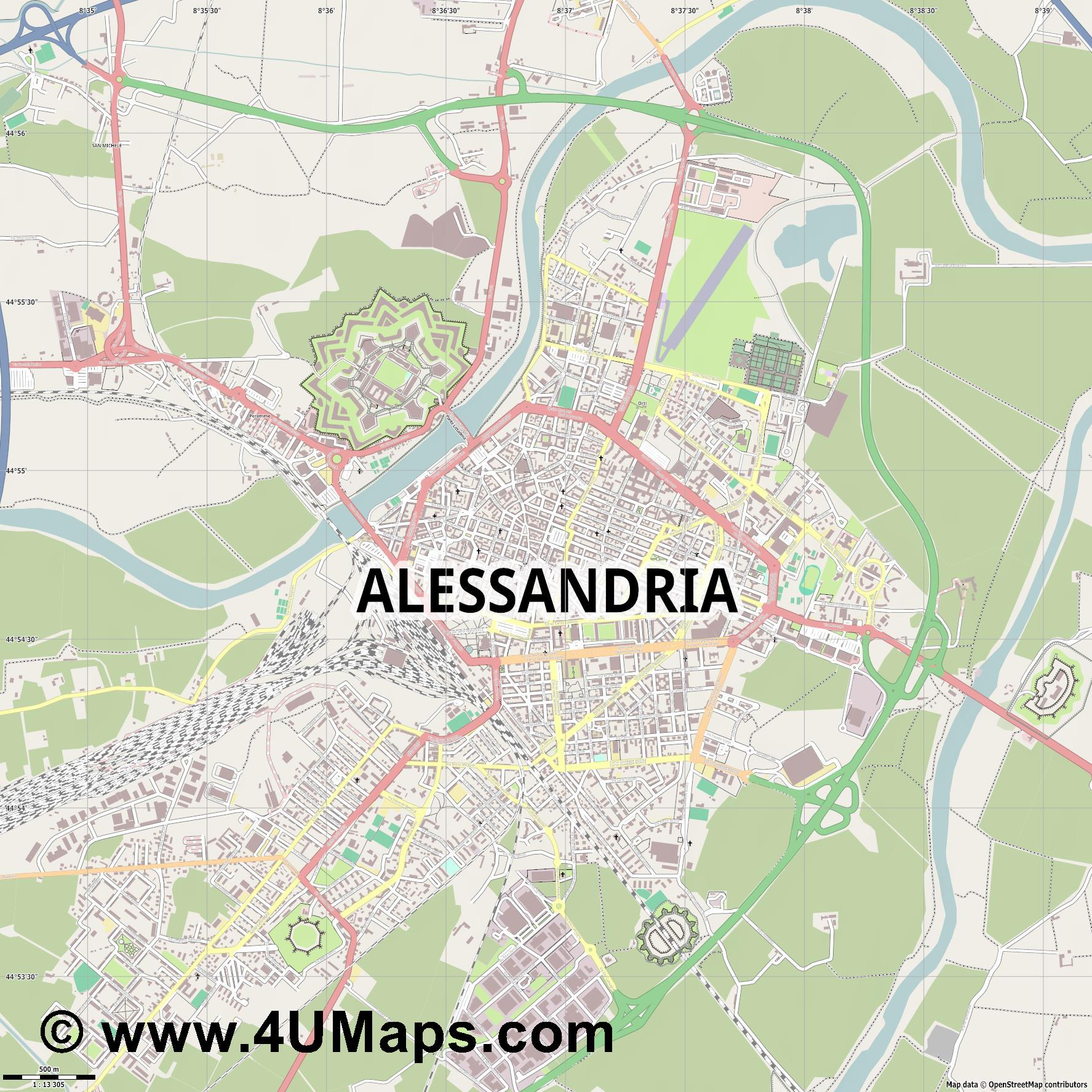 Alessandria Alexandrie  jpg ultra high detail preview vector city map