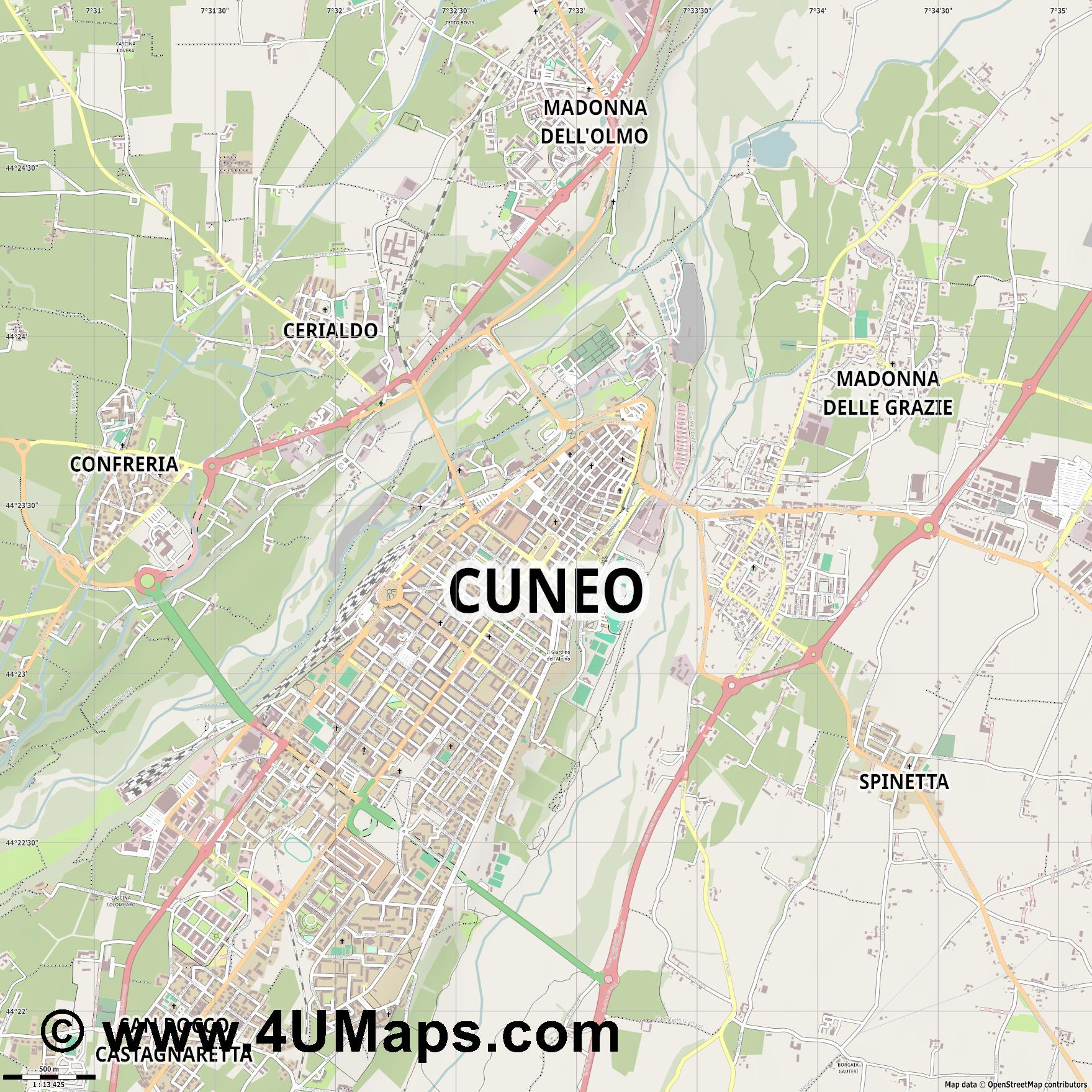 Cuneo Coni  jpg ultra high detail preview vector city map