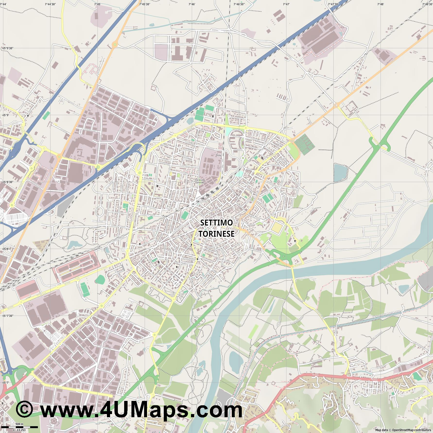 Settimo Torinese  jpg ultra high detail preview vector city map