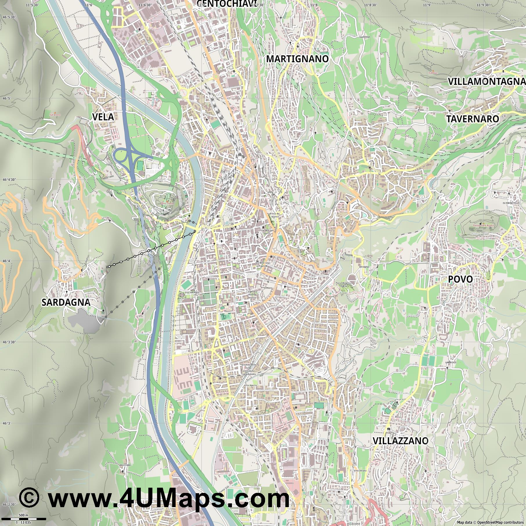 Trento Trente Trient  jpg ultra high detail preview vector city map
