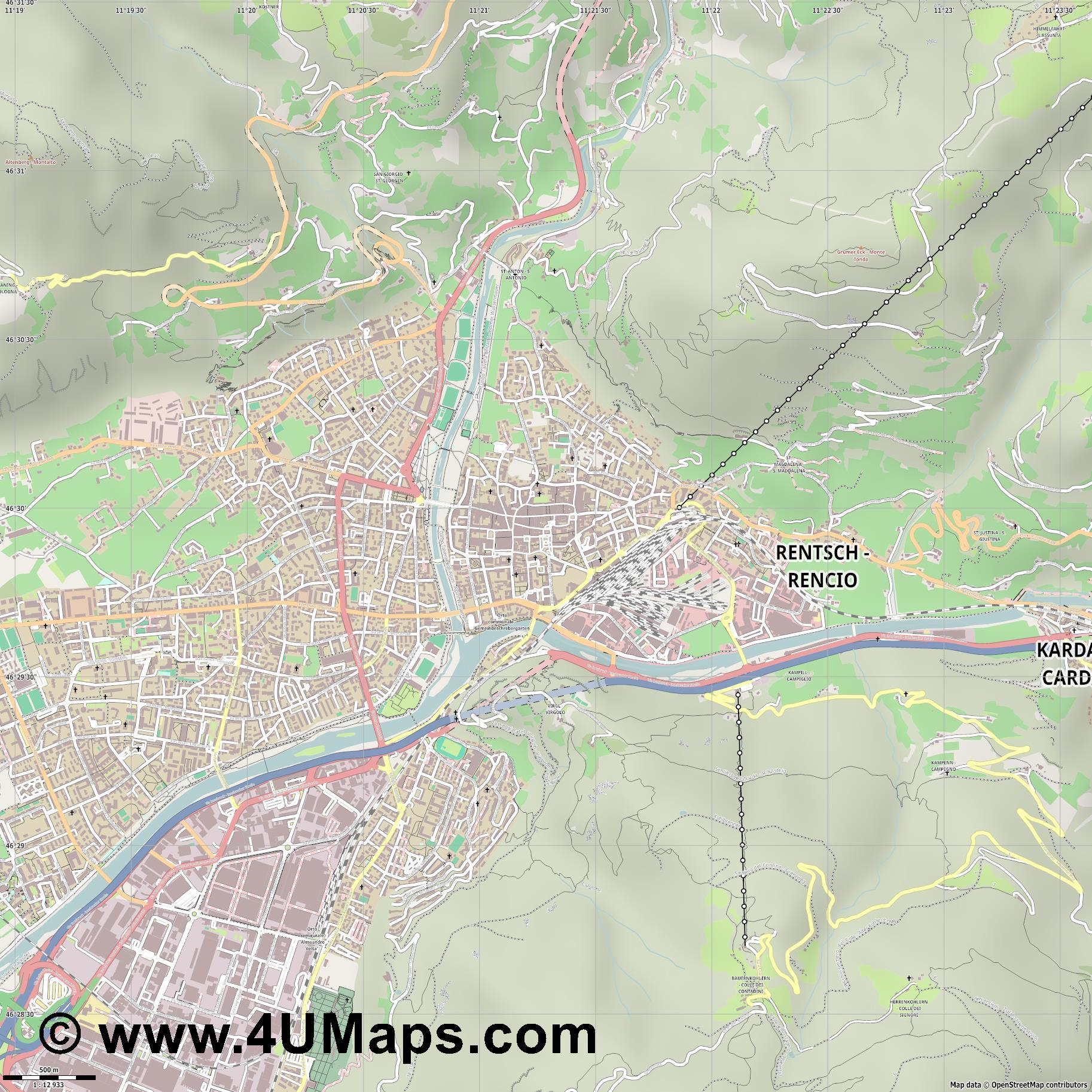 Bolzano   Bozen  jpg ultra high detail preview vector city map