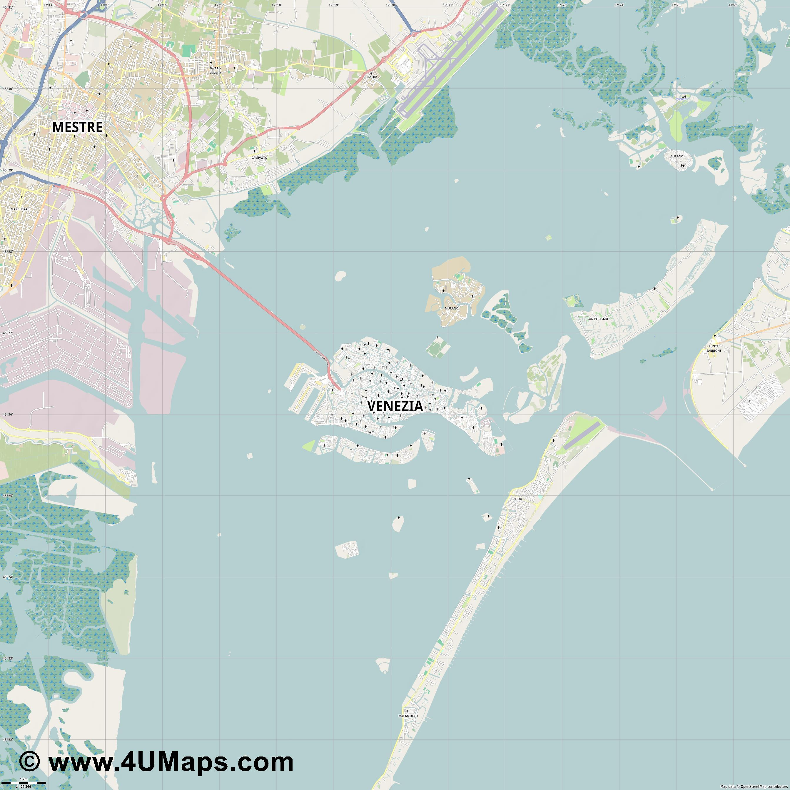 Venezia Venice Venecia Venise Venedig  jpg high detail, large area preview vector city map