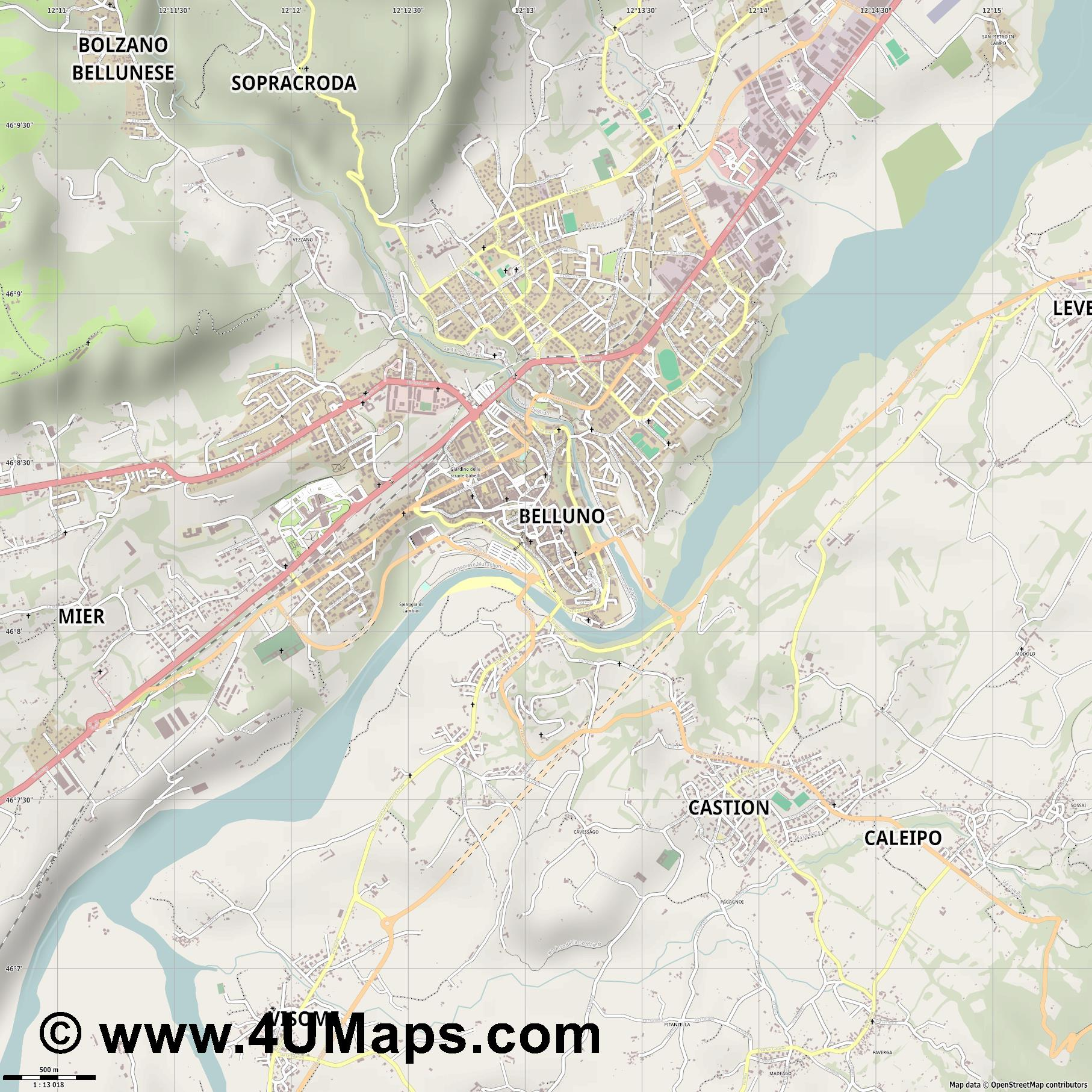 Belluno  jpg ultra high detail preview vector city map