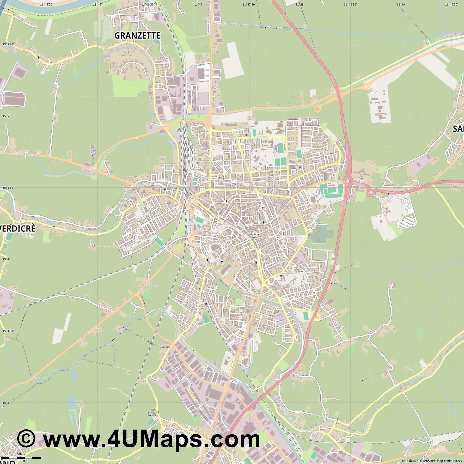 Rovigo  jpg ultra high detail preview vector city map