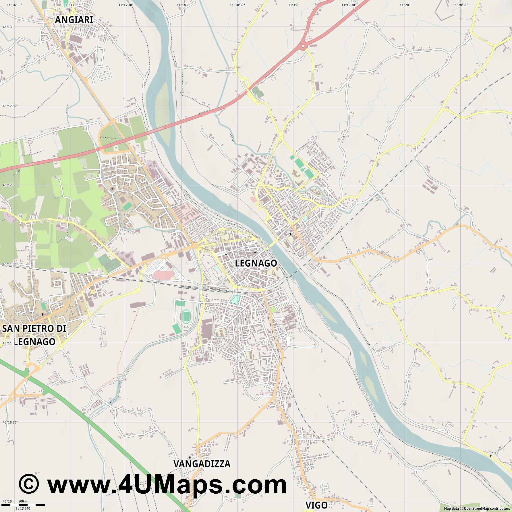 Legnago  jpg ultra high detail preview vector city map