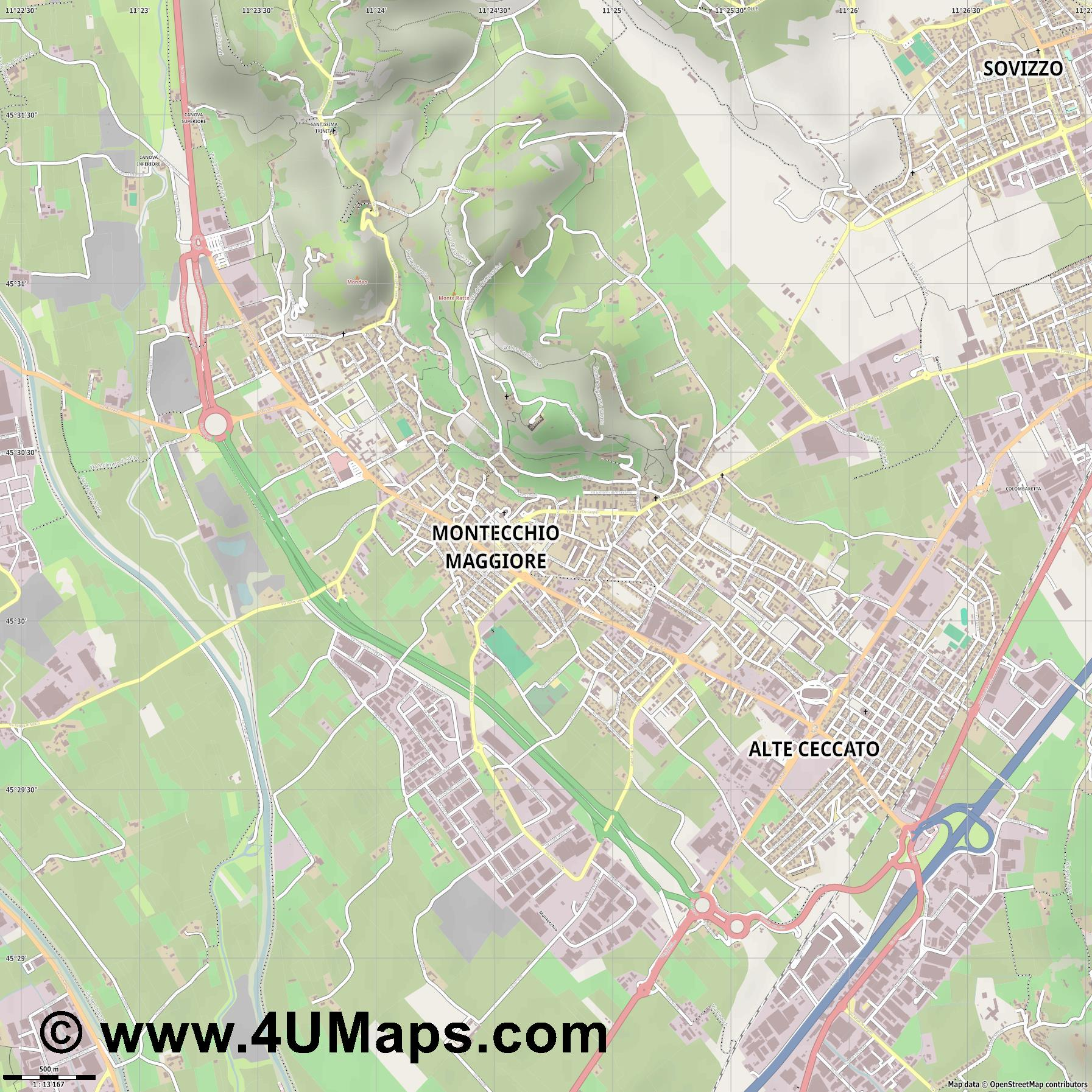 Montecchio Maggiore  jpg ultra high detail preview vector city map