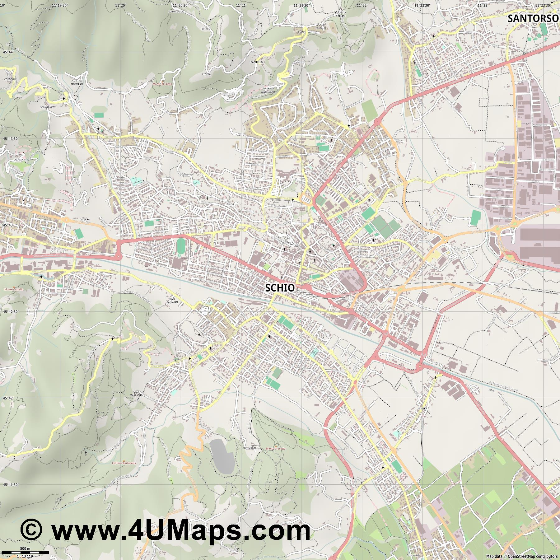 Schio  jpg ultra high detail preview vector city map