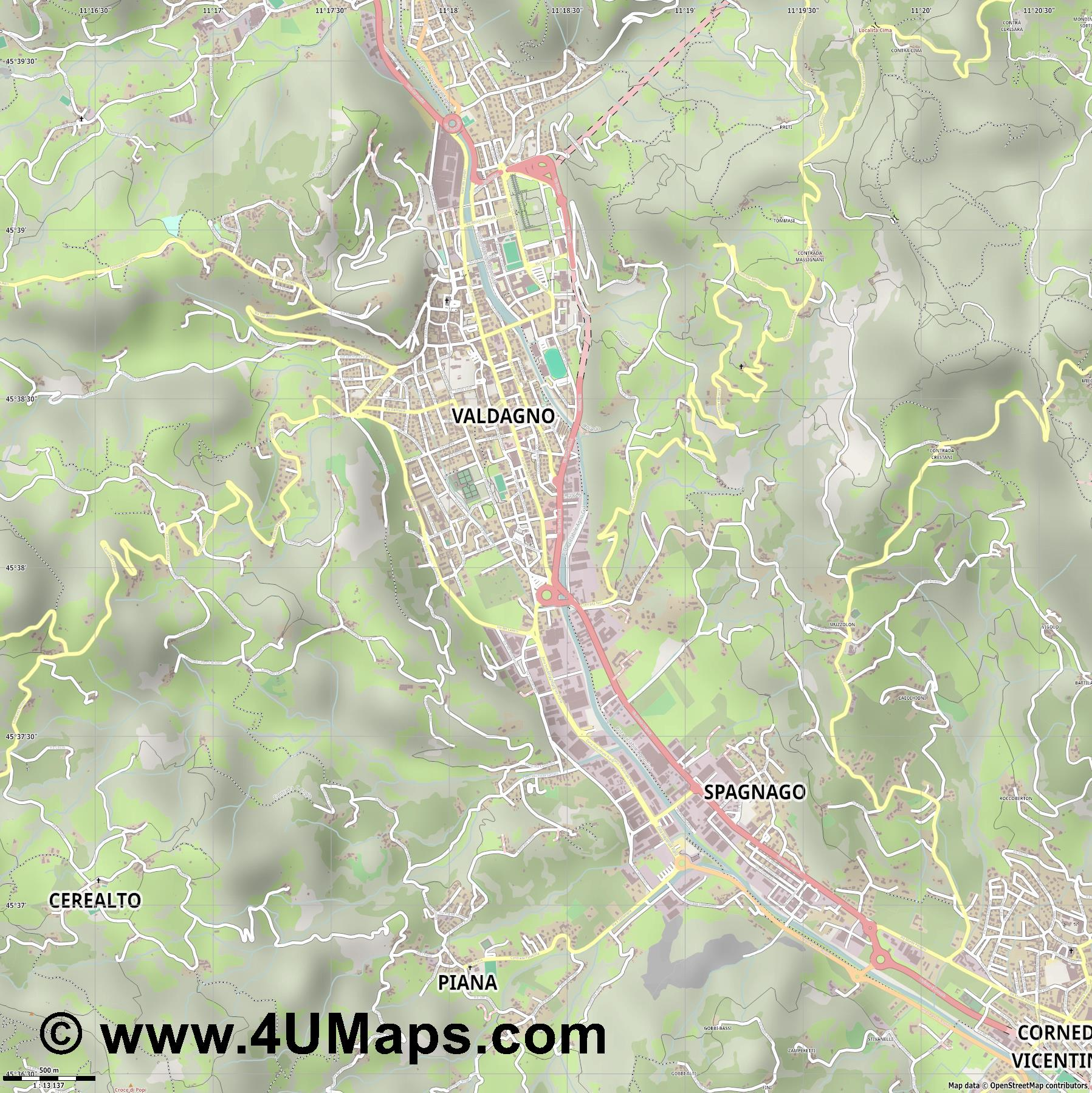 Valdagno  jpg ultra high detail preview vector city map