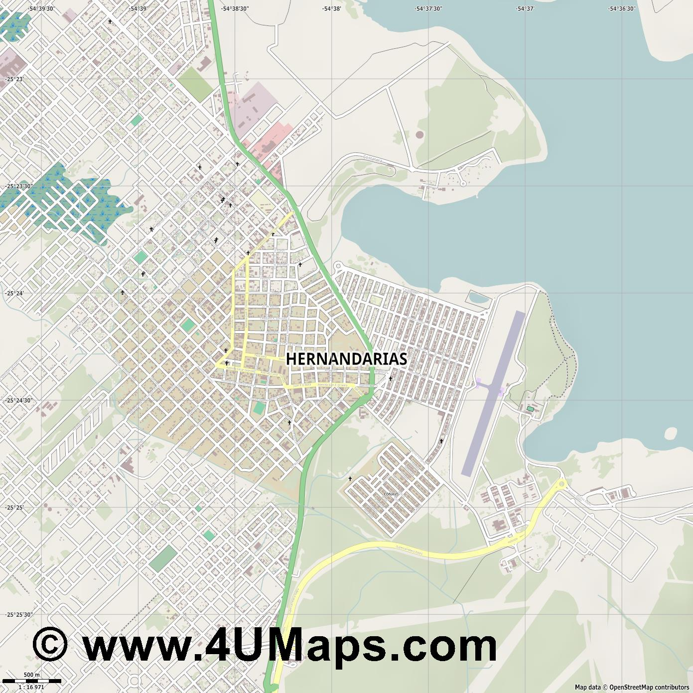 Hernandarias  jpg ultra high detail preview vector city map
