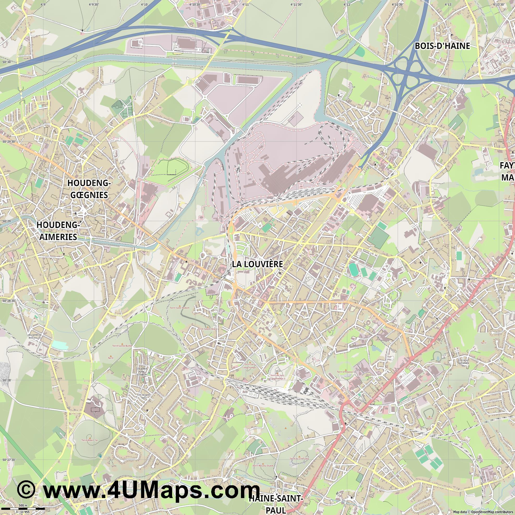 La Louvière  jpg ultra high detail preview vector city map