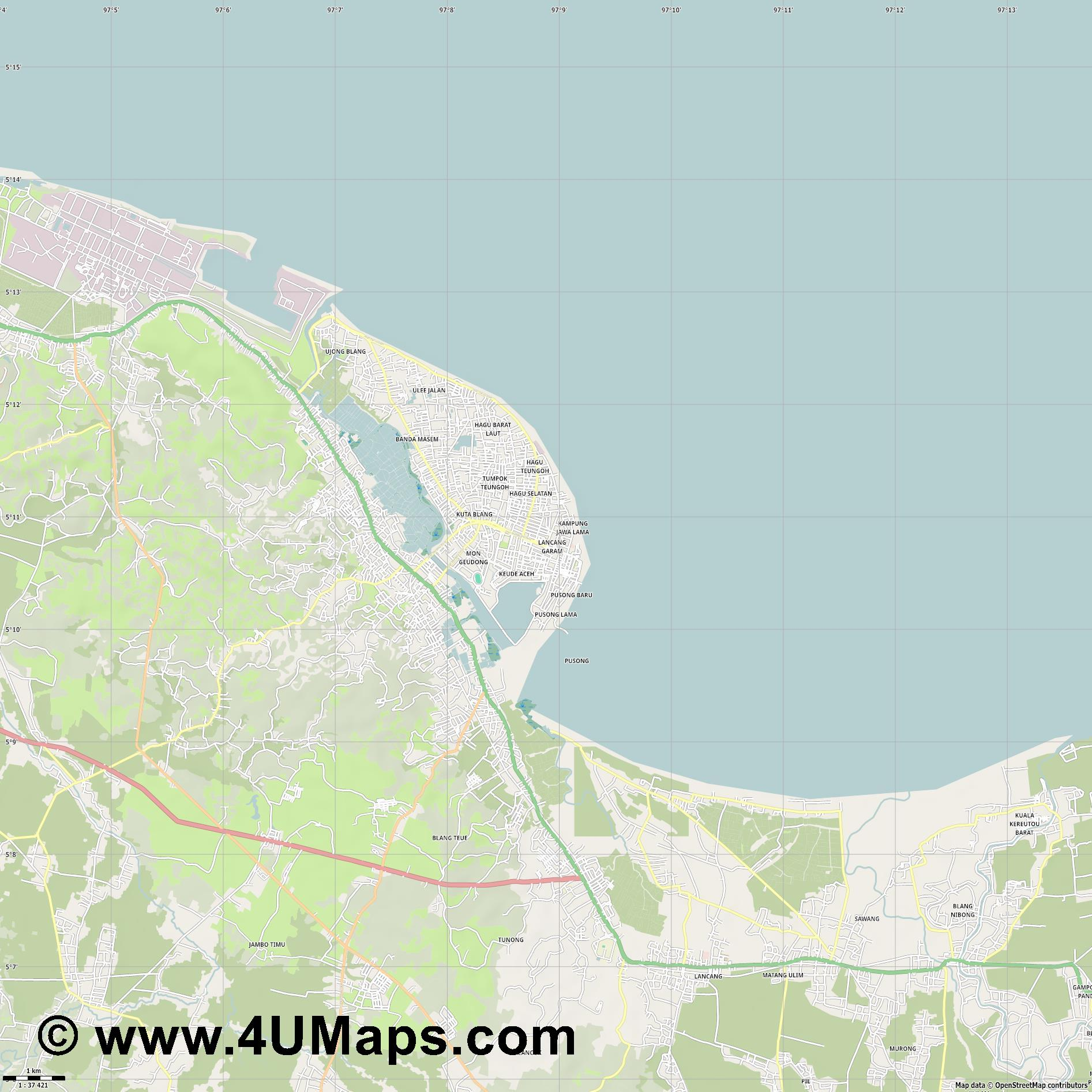 Lhokseumawe  jpg high detail, large area preview vector city map
