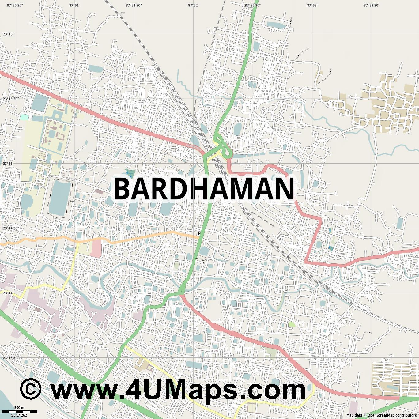 Bardhaman  jpg ultra high detail preview vector city map