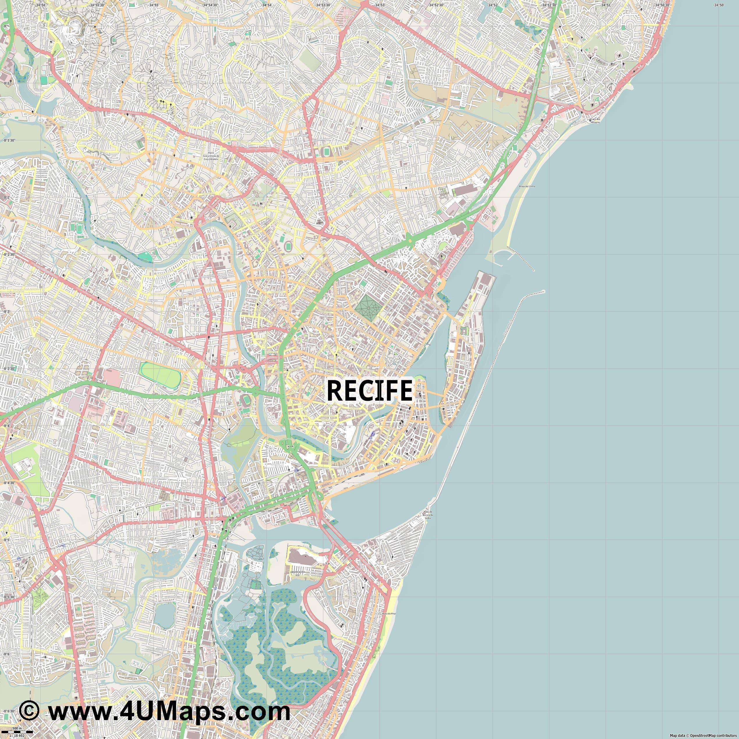 Recife  jpg ultra high detail preview vector city map