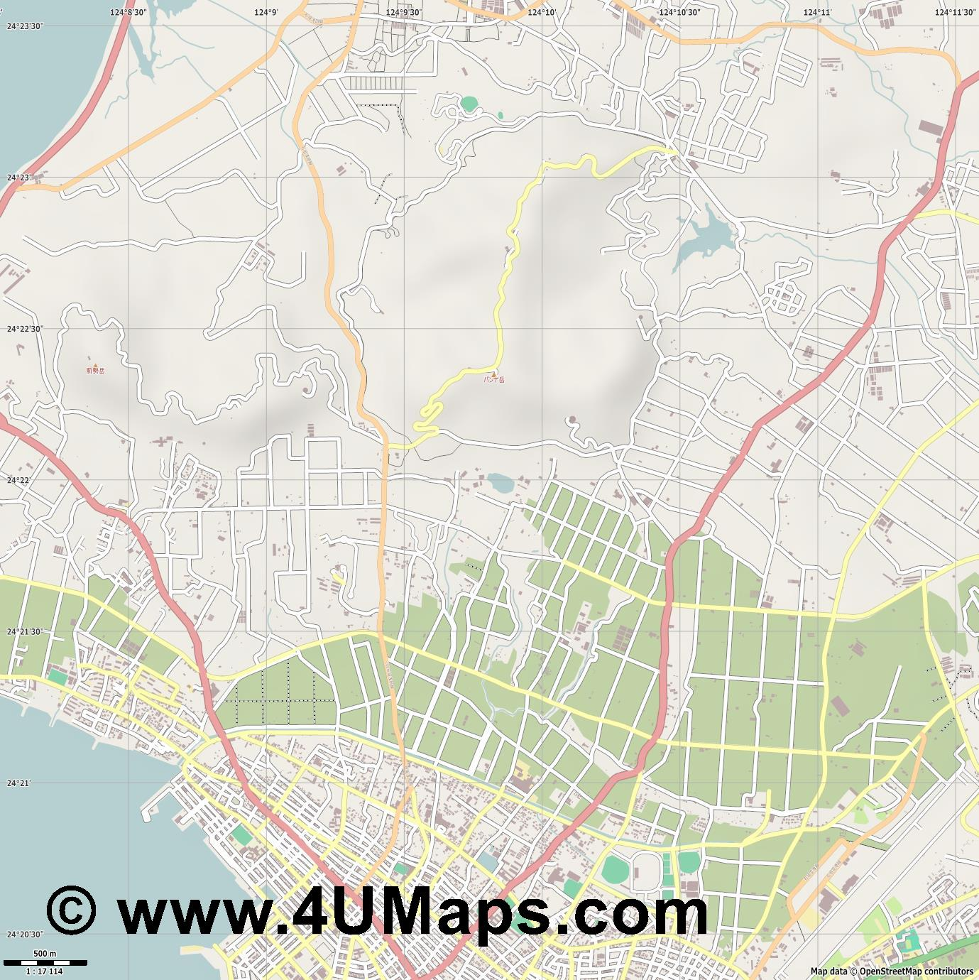 石垣市 Ishigaki  jpg ultra high detail preview vector city map