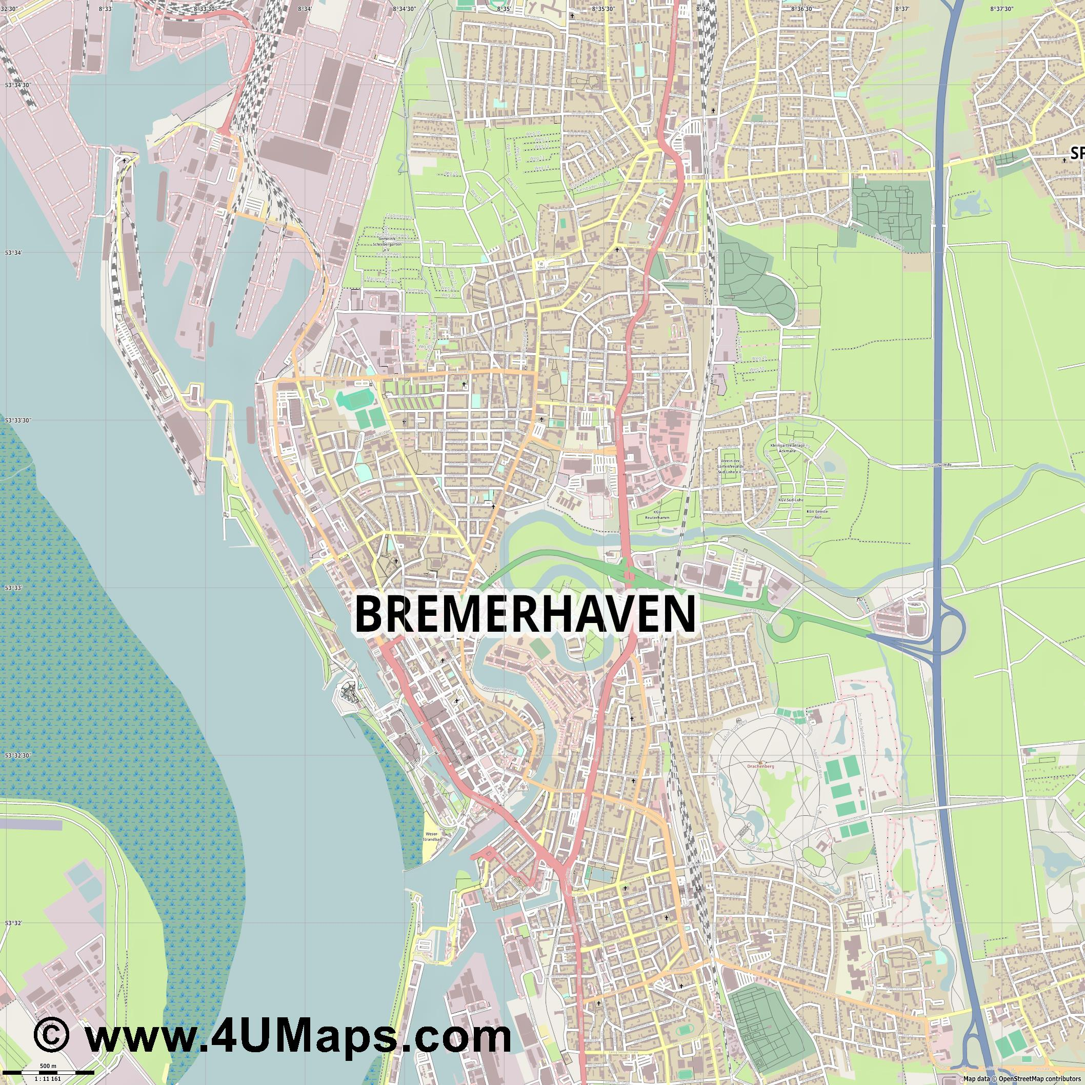 Bremerhaven  jpg ultra high detail preview vector city map