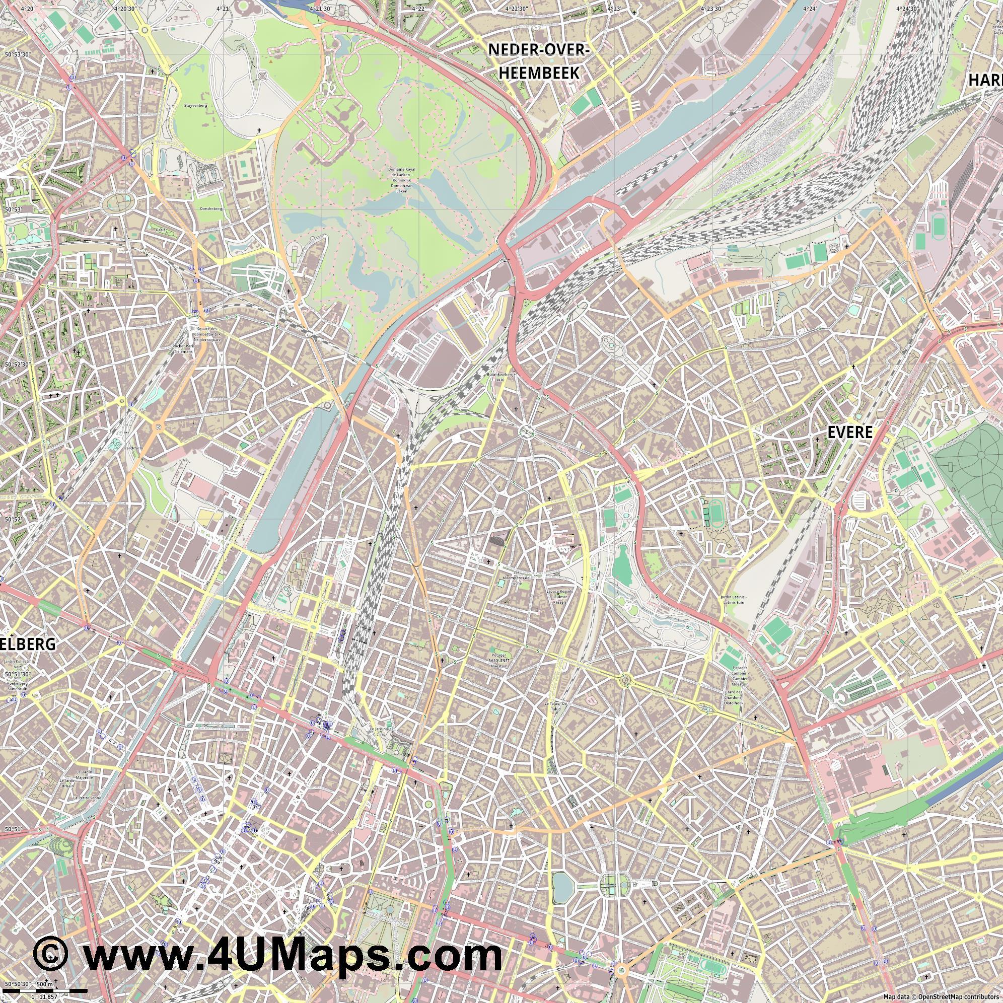 PDF Svg Scalable Vector City Map Schaerbeek Schaarbeek