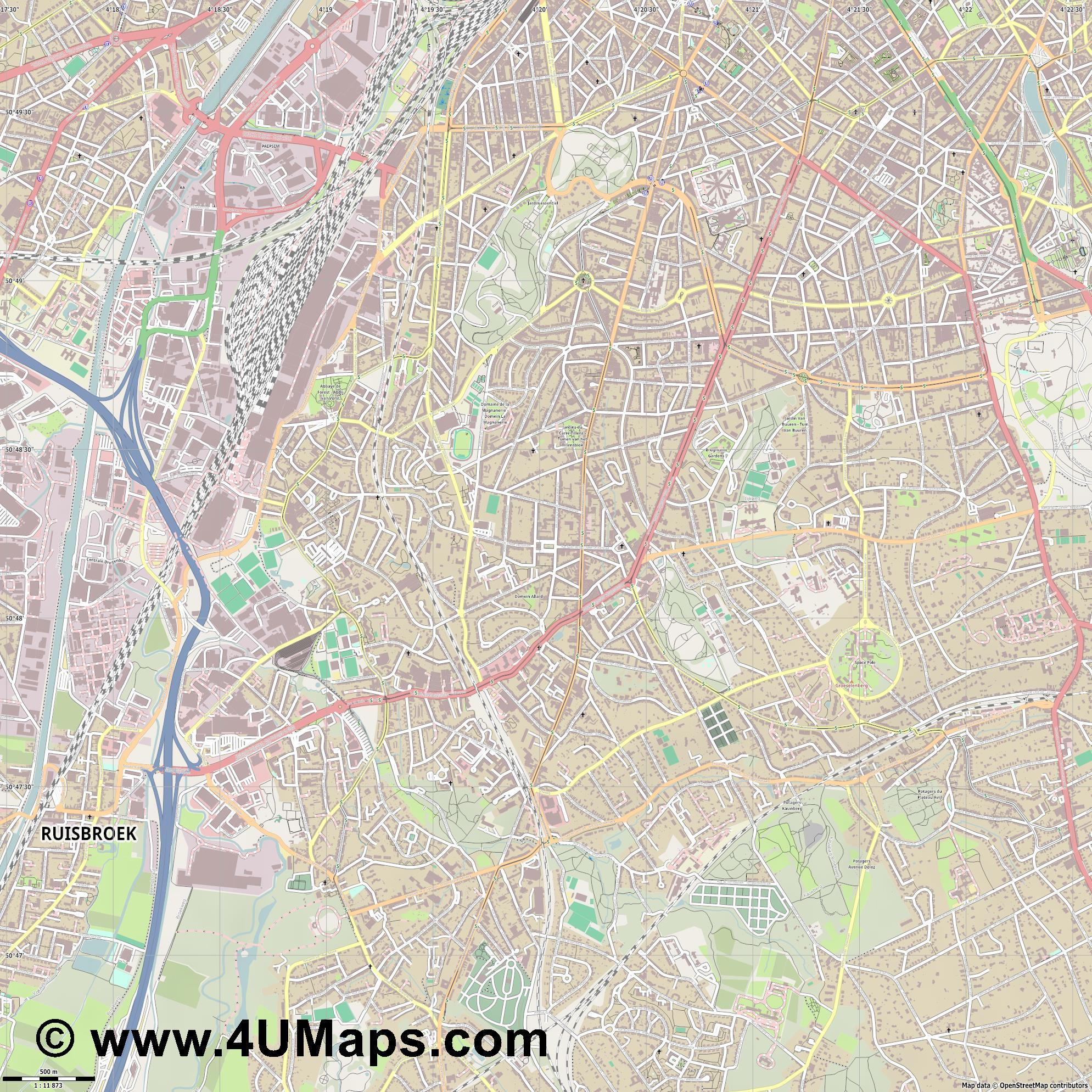 Uccle   Ukkel  jpg ultra high detail preview vector city map