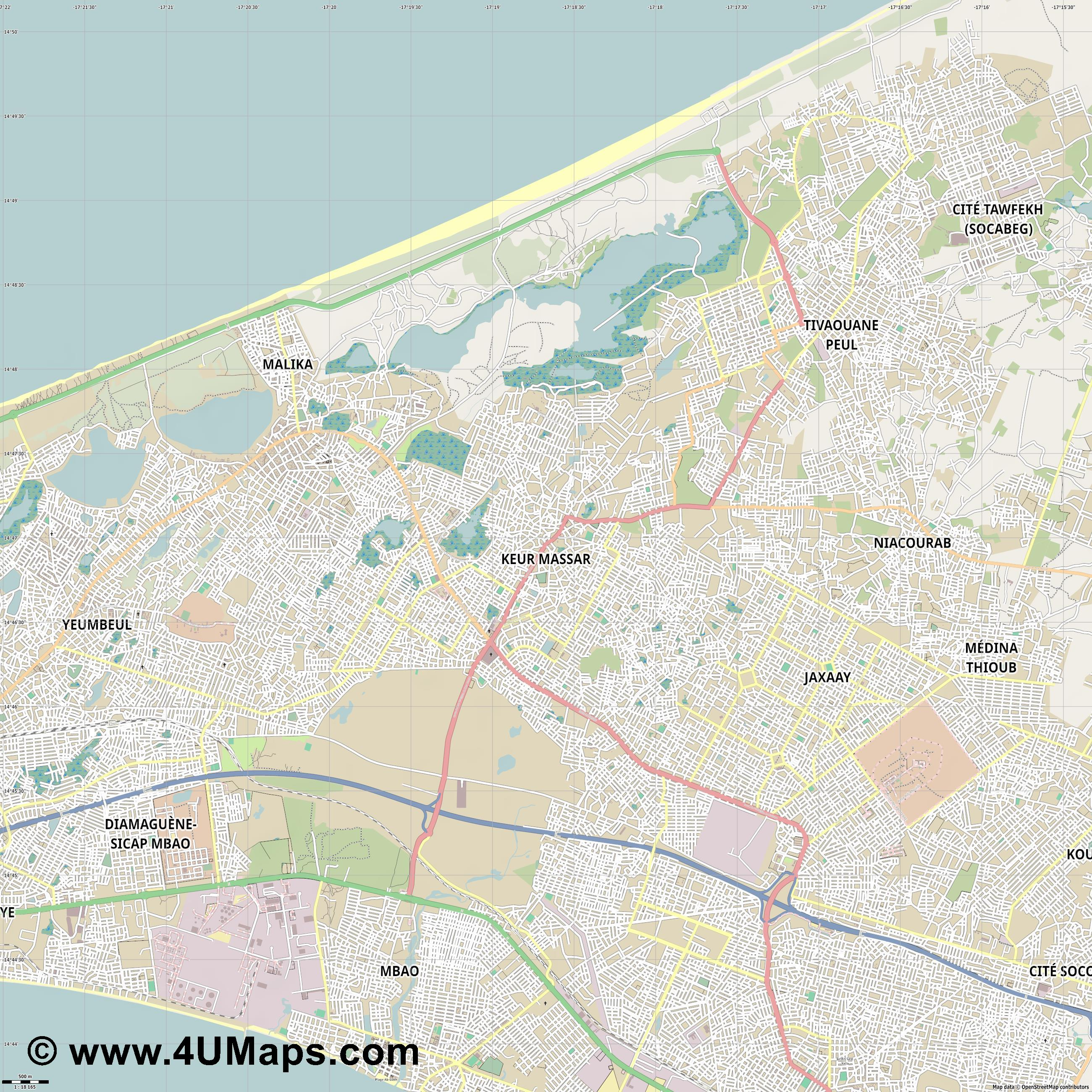 Keur Massar  jpg ultra high detail preview vector city map