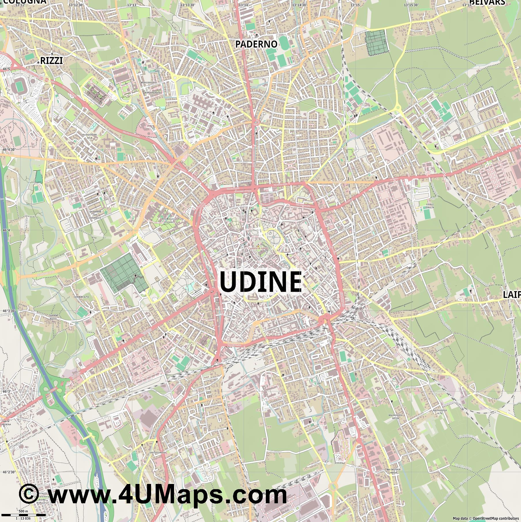 Udine  jpg ultra high detail preview vector city map