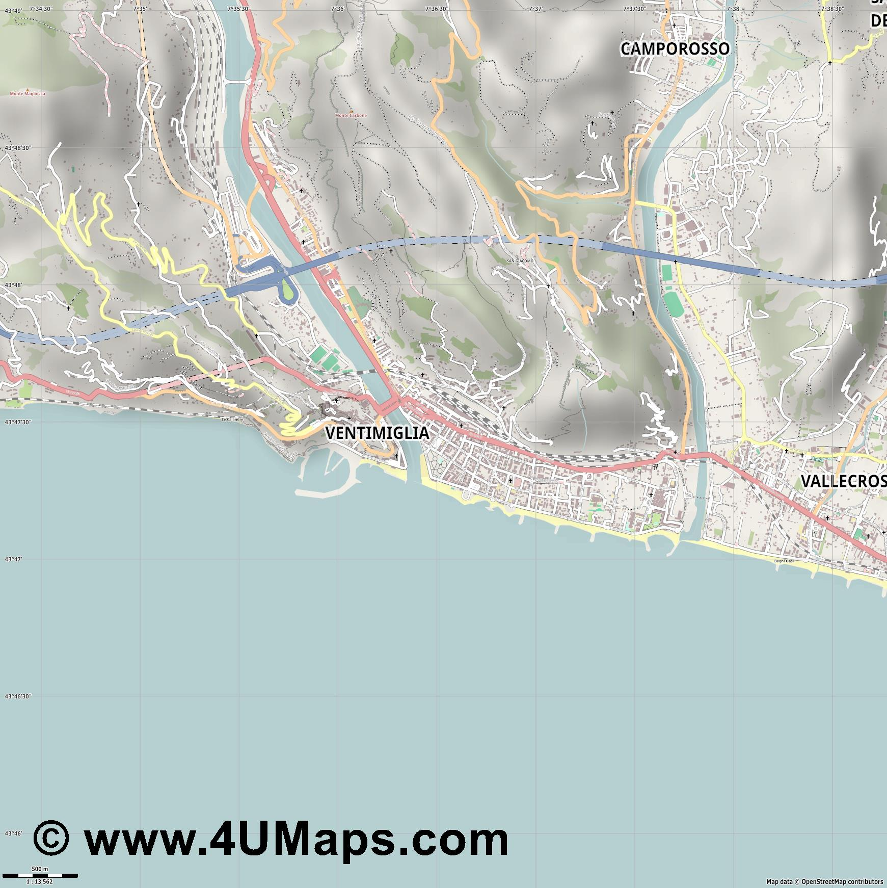 Ventimiglia Vintimille  jpg ultra high detail preview vector city map