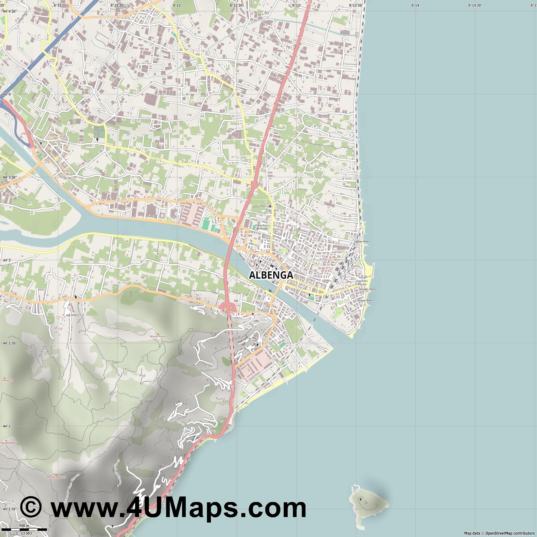 Albenga  jpg ultra high detail preview vector city map