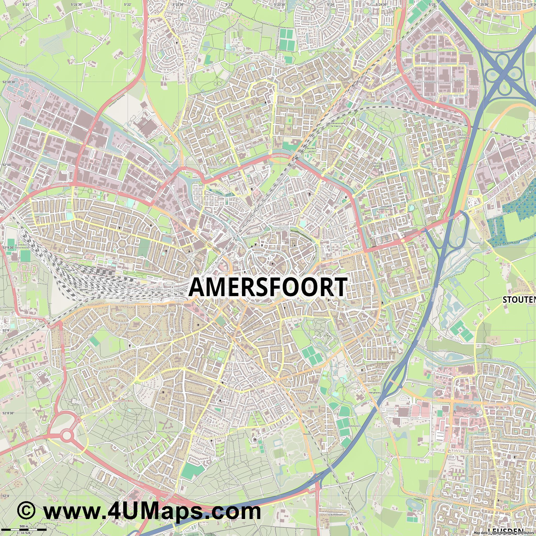 PDF Svg Scalable Vector City Map Amersfoort