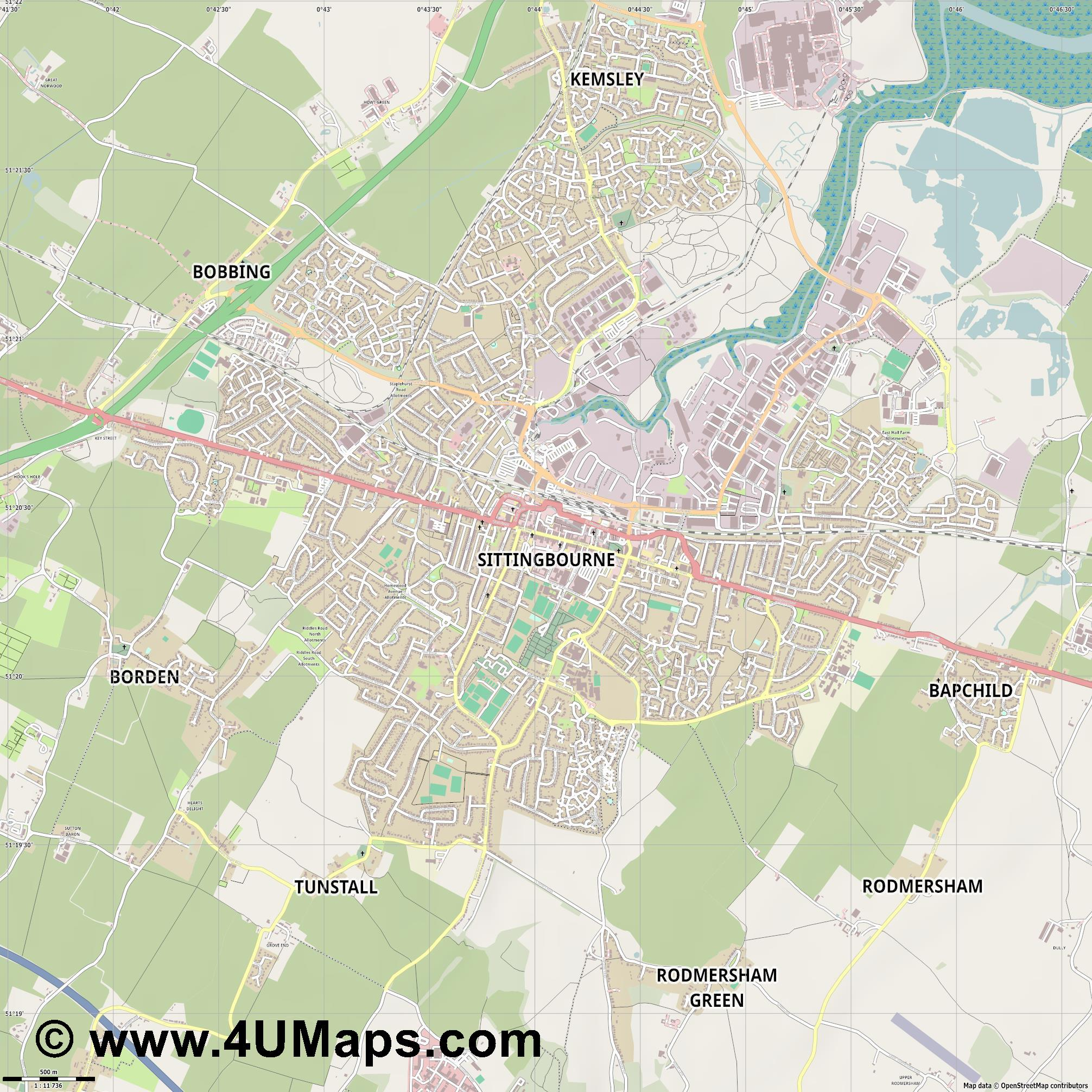 Sittingbourne  jpg ultra high detail preview vector city map
