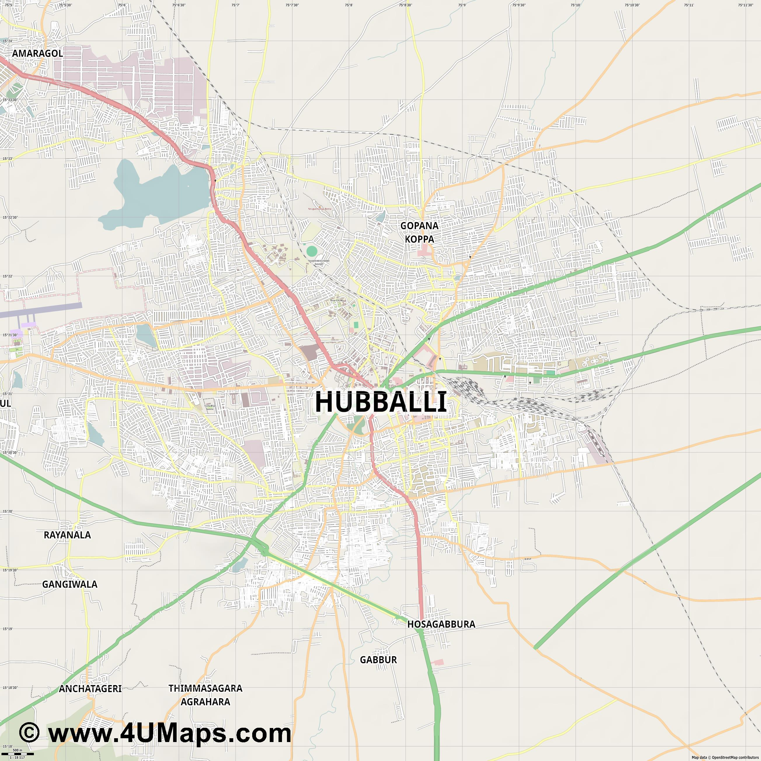 Hubli  jpg ultra high detail preview vector city map