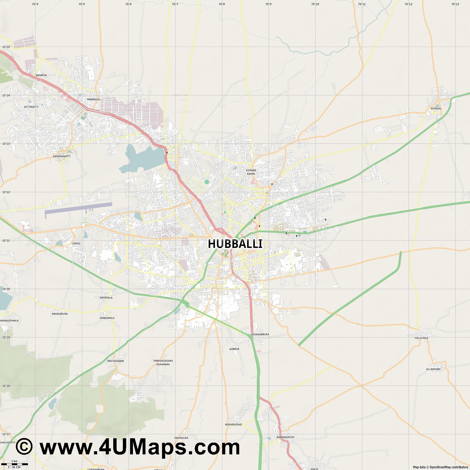 Hubli  jpg high detail, large area preview vector city map
