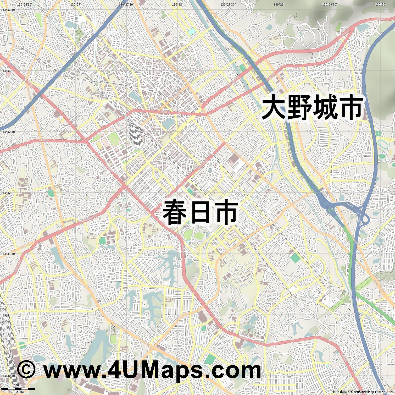 春日市  Kasuga   jpg ultra high detail preview vector city map