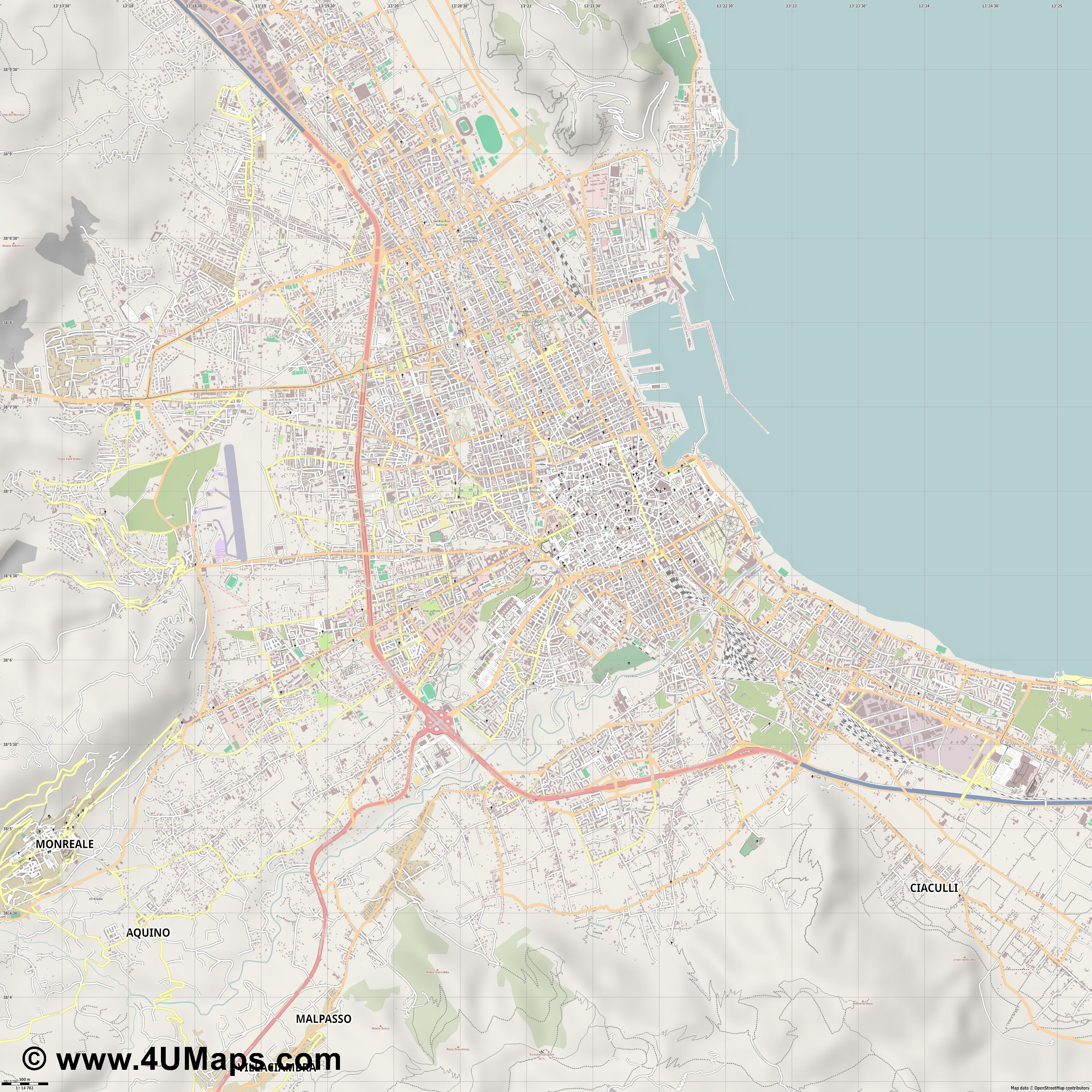 Palermo Palerme  jpg ultra high detail preview vector city map