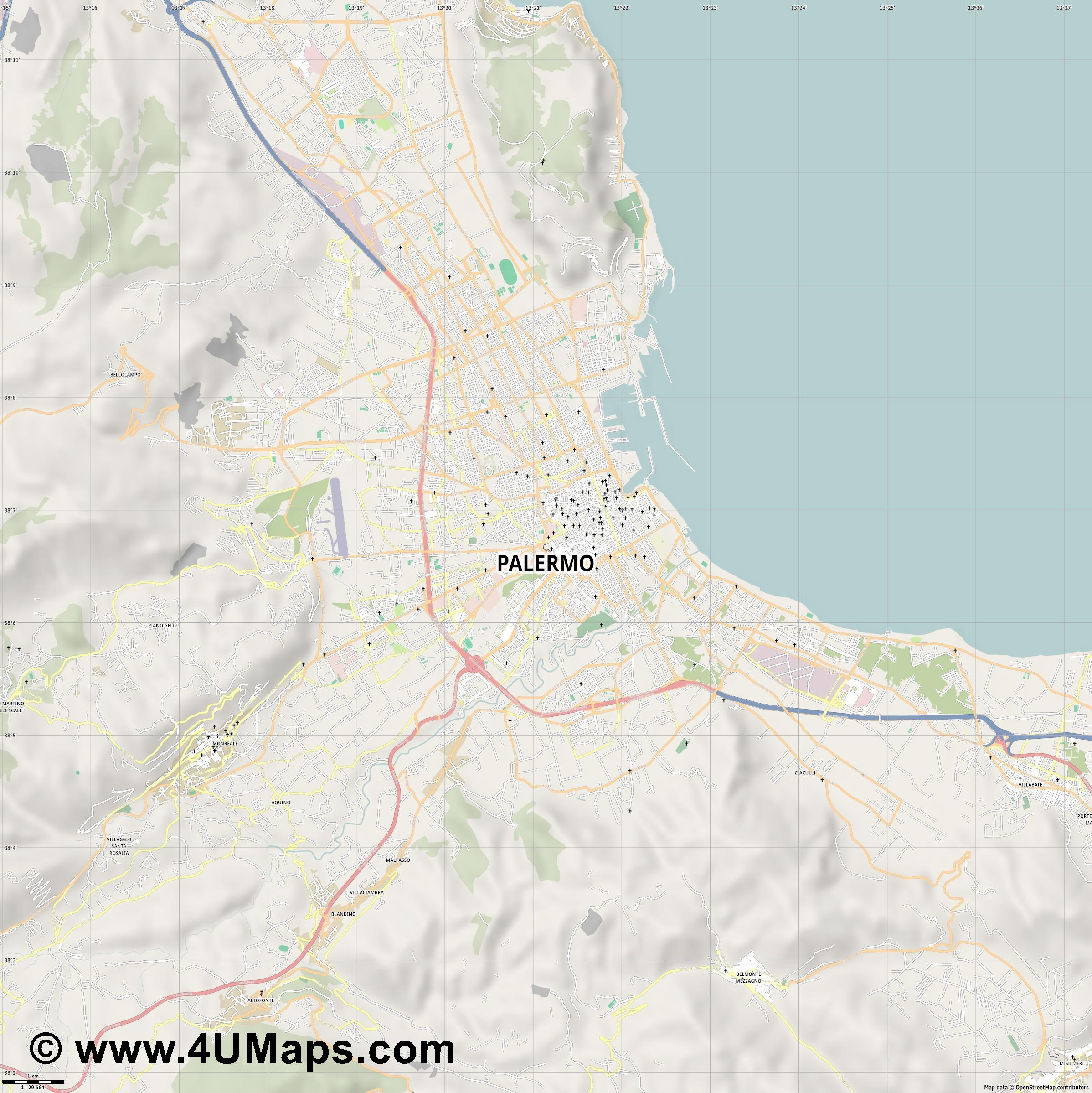 PDF, Svg Scalable Vector City Map Palermo