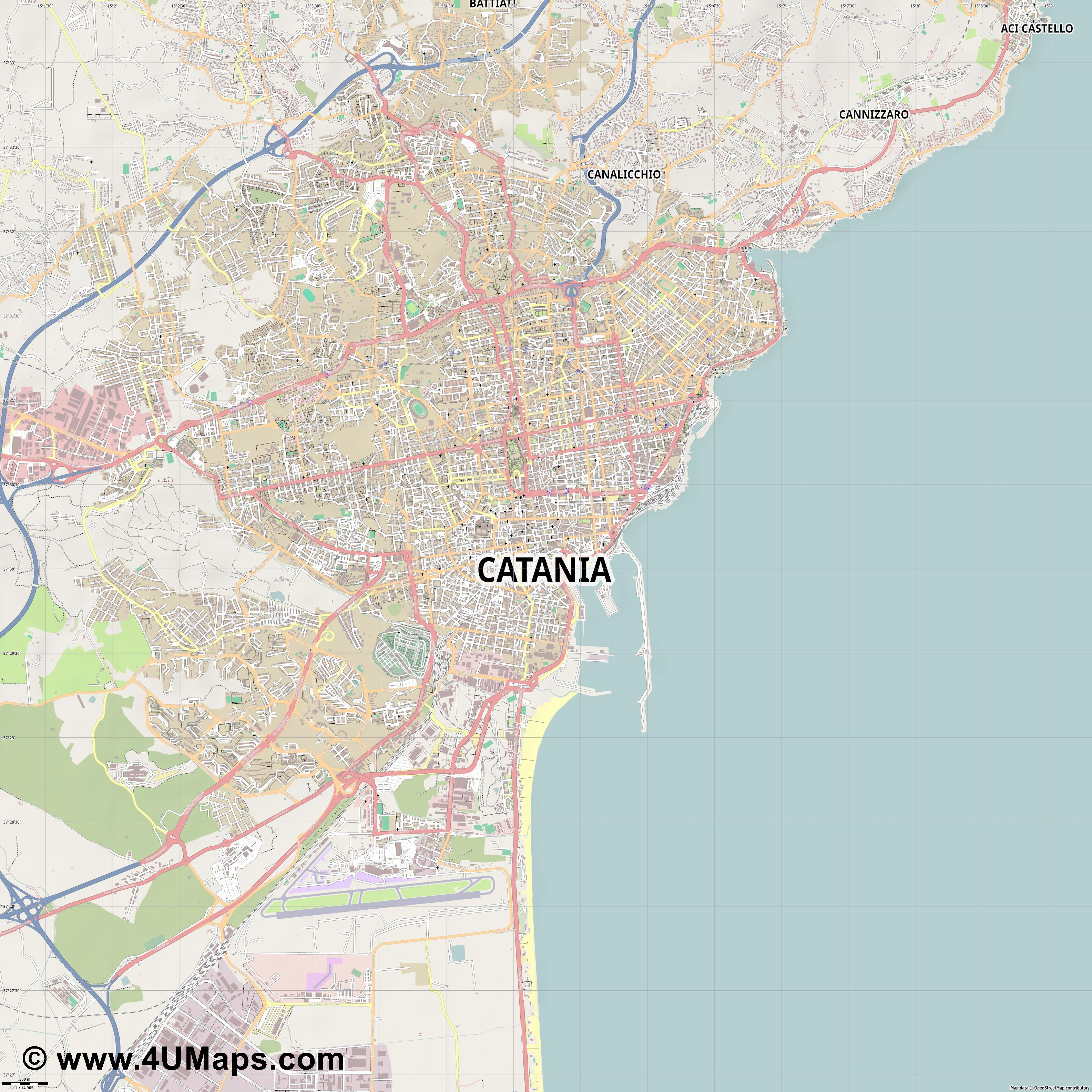 Catania Catane  jpg ultra high detail preview vector city map