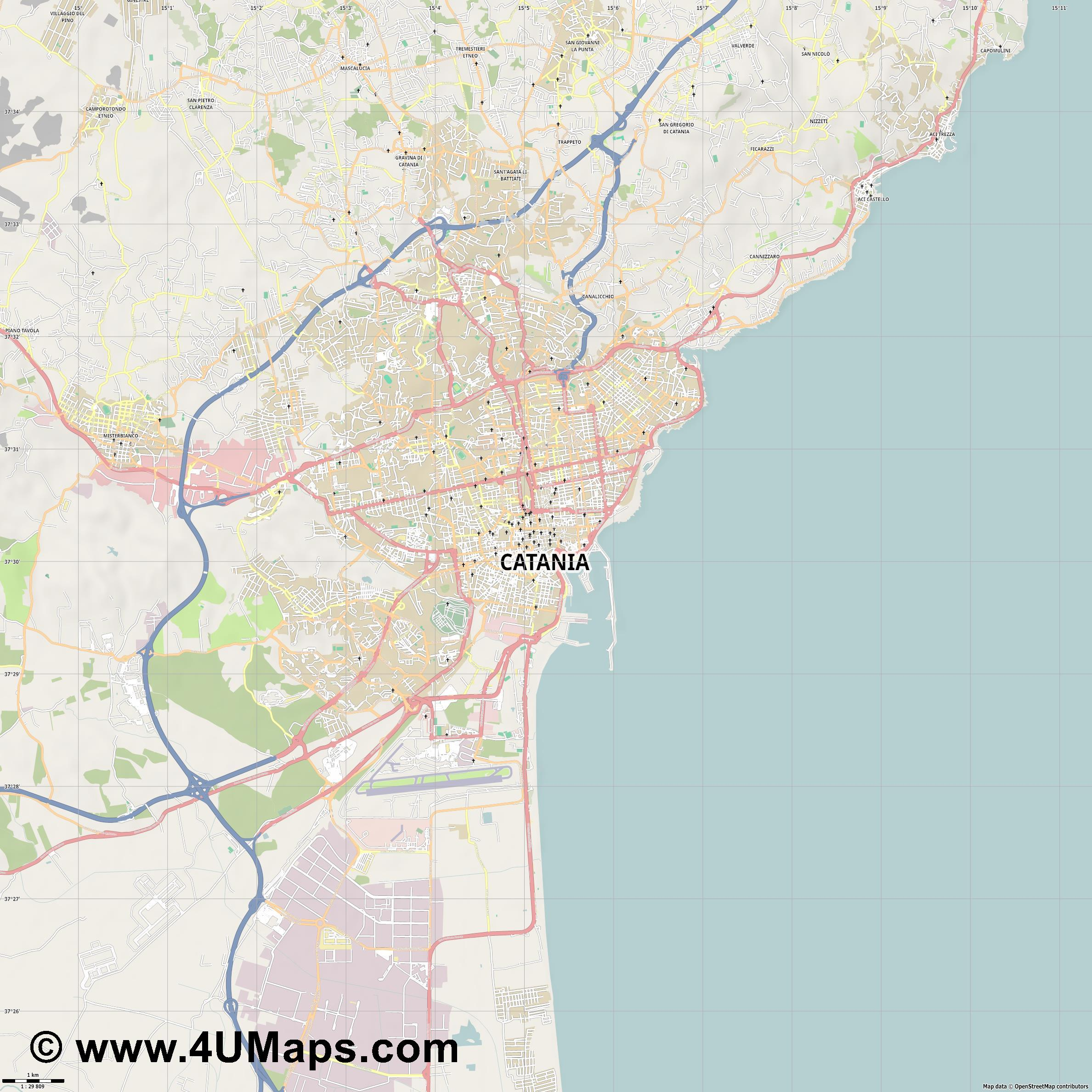 Catania Catane  jpg high detail, large area preview vector city map
