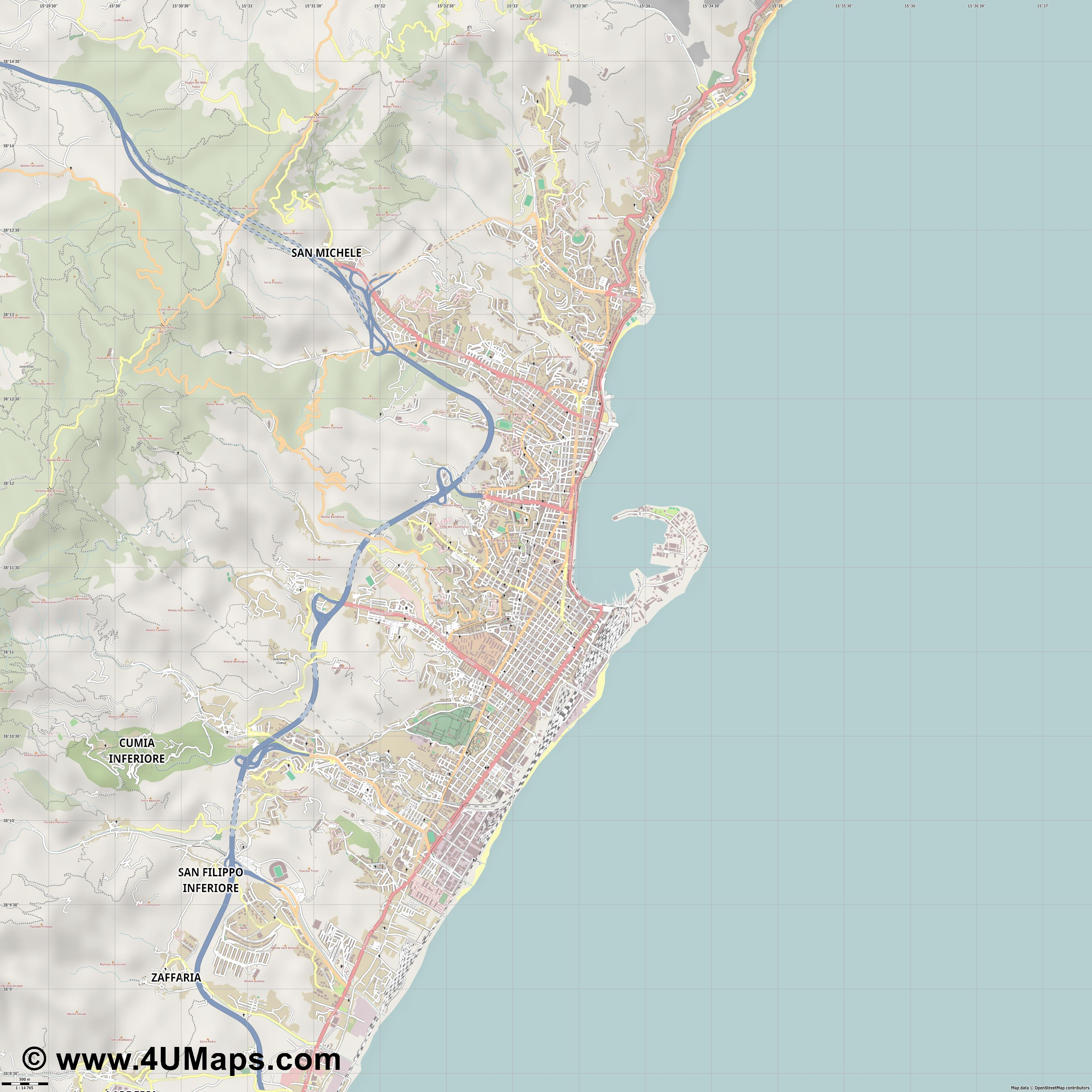Messina Mesina Messine  jpg ultra high detail preview vector city map