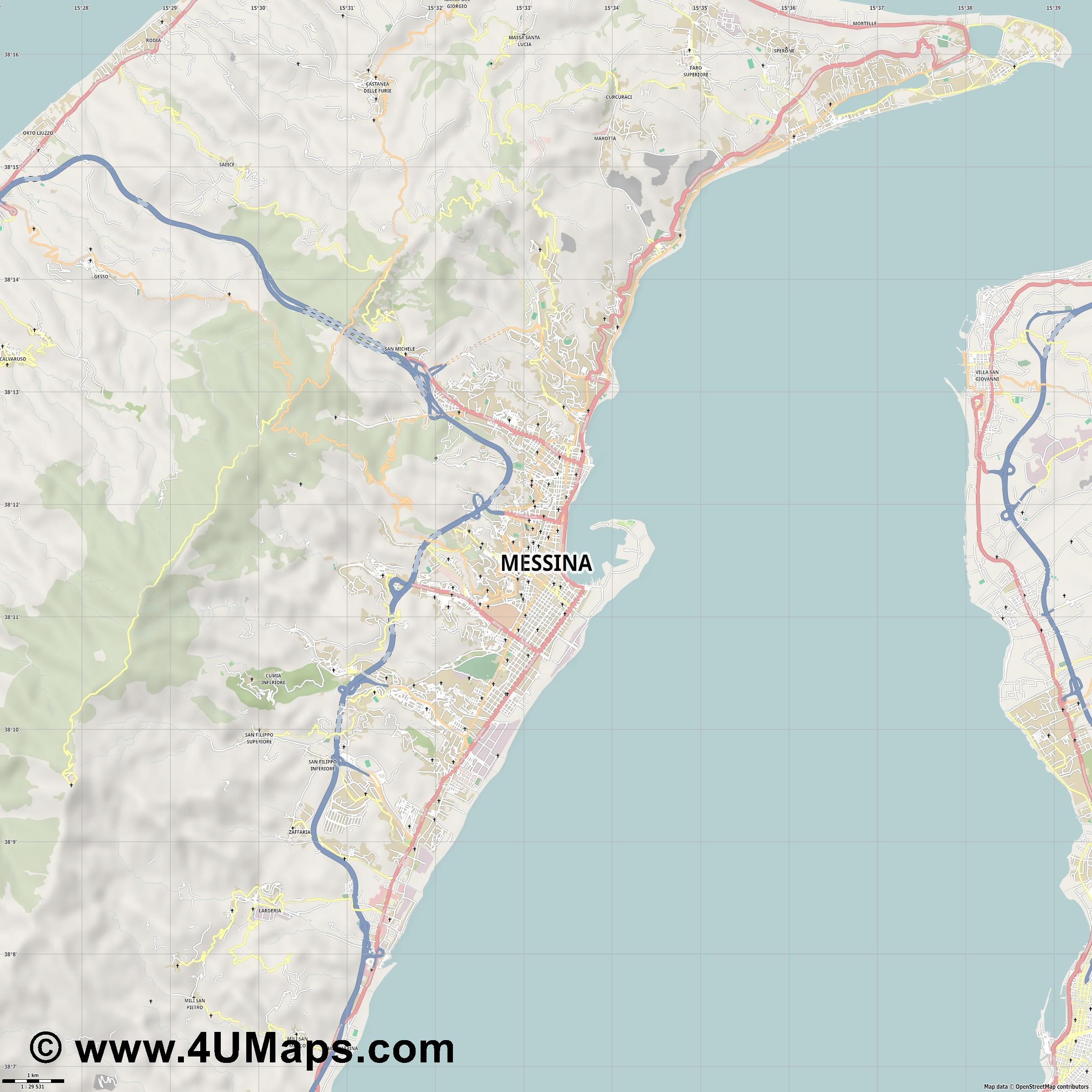 Messina Mesina Messine  jpg high detail, large area preview vector city map