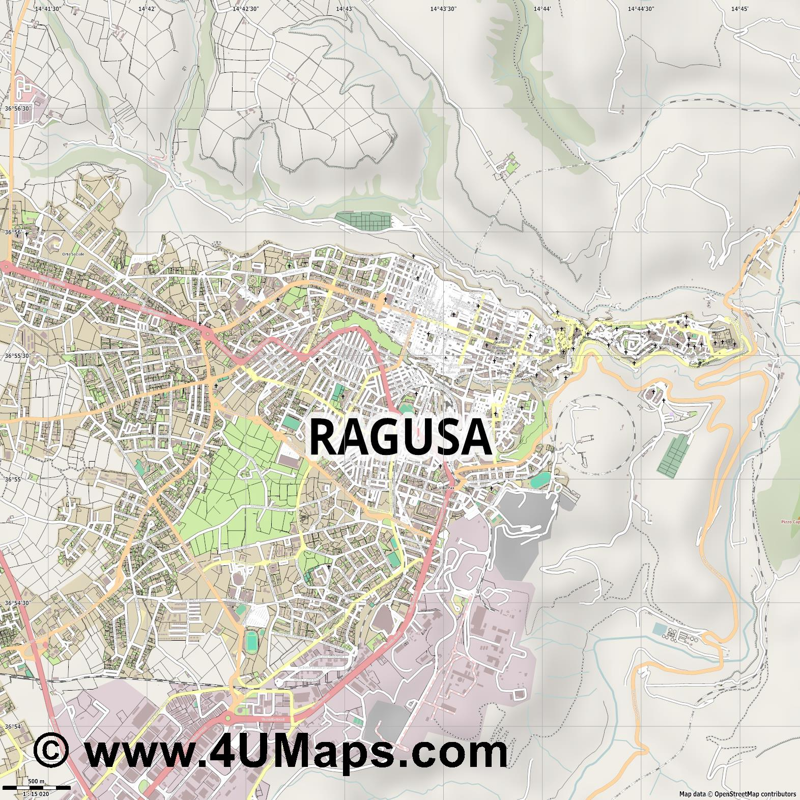 Ragusa Raguse  jpg ultra high detail preview vector city map