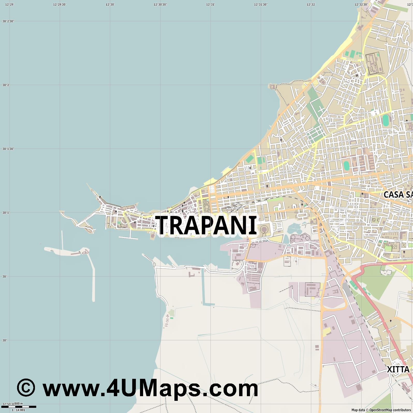 Trapani  jpg ultra high detail preview vector city map