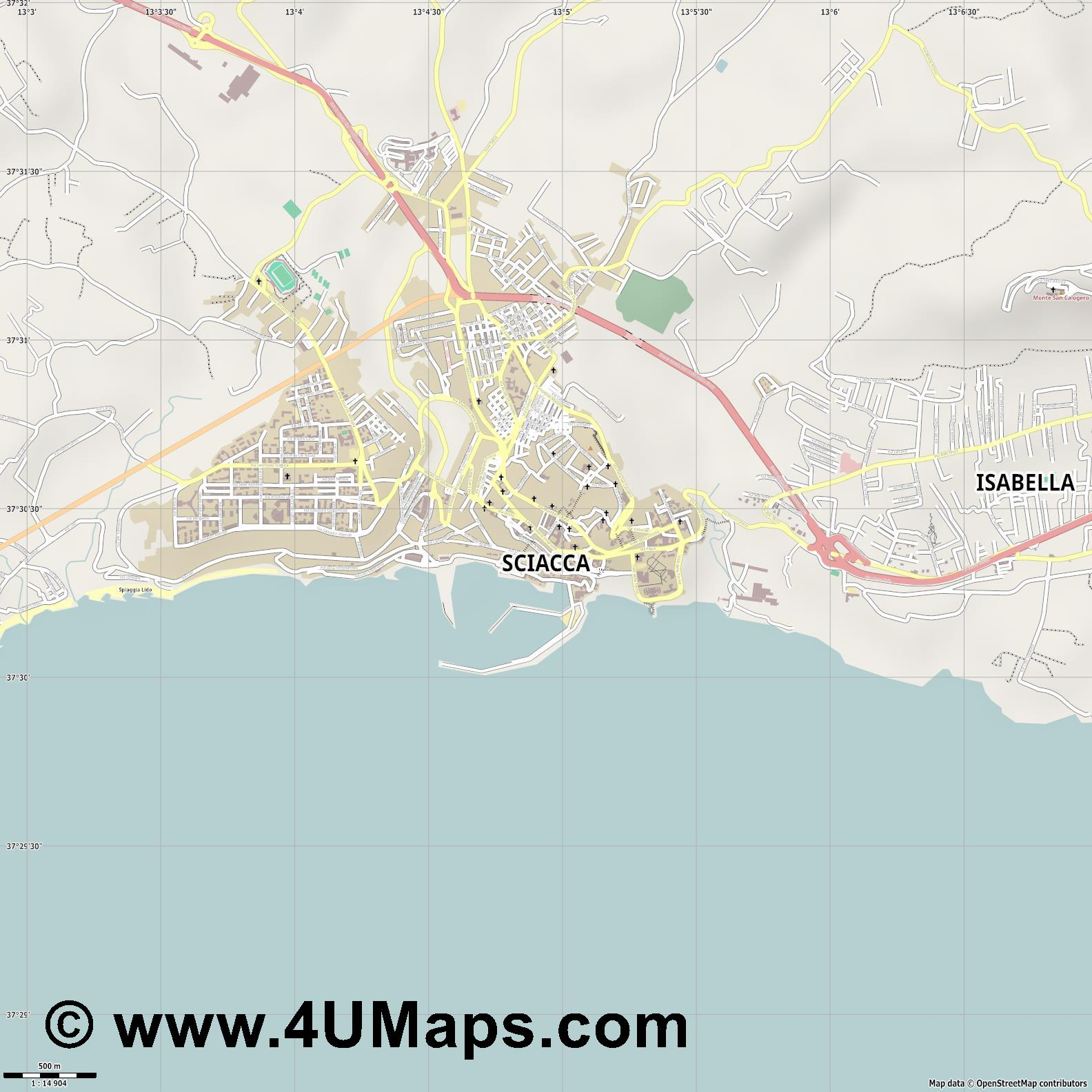 Sciacca  jpg ultra high detail preview vector city map