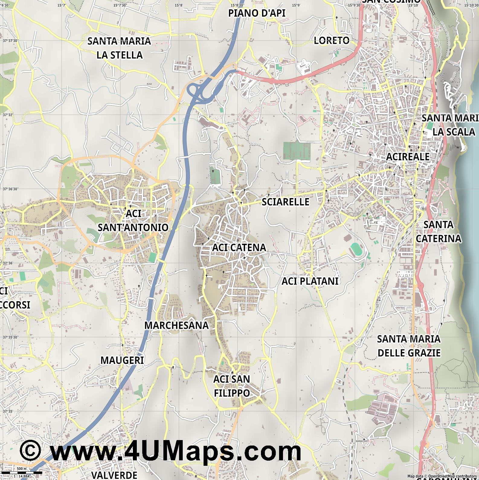 Aci Catena  jpg ultra high detail preview vector city map
