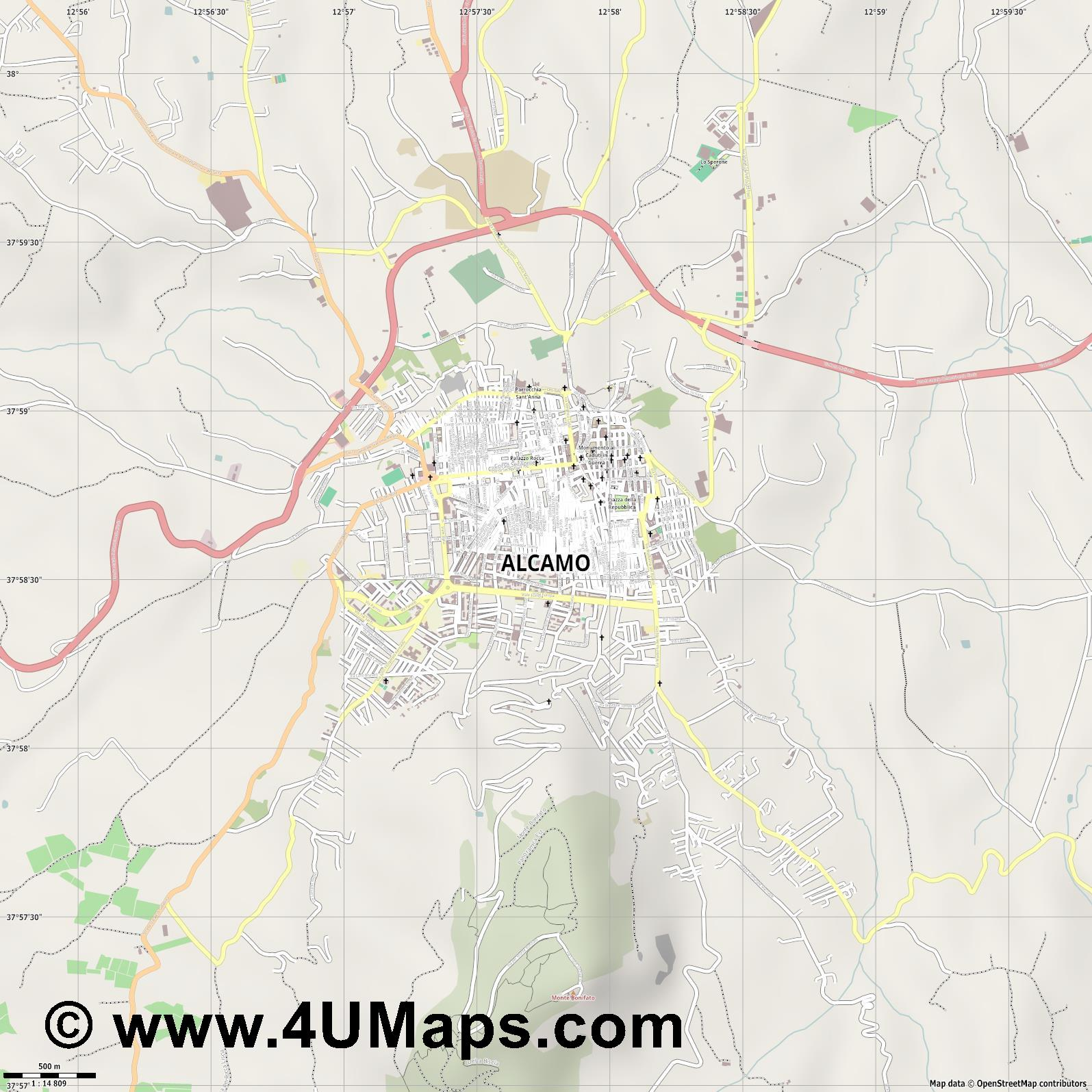 Alcamo  jpg ultra high detail preview vector city map