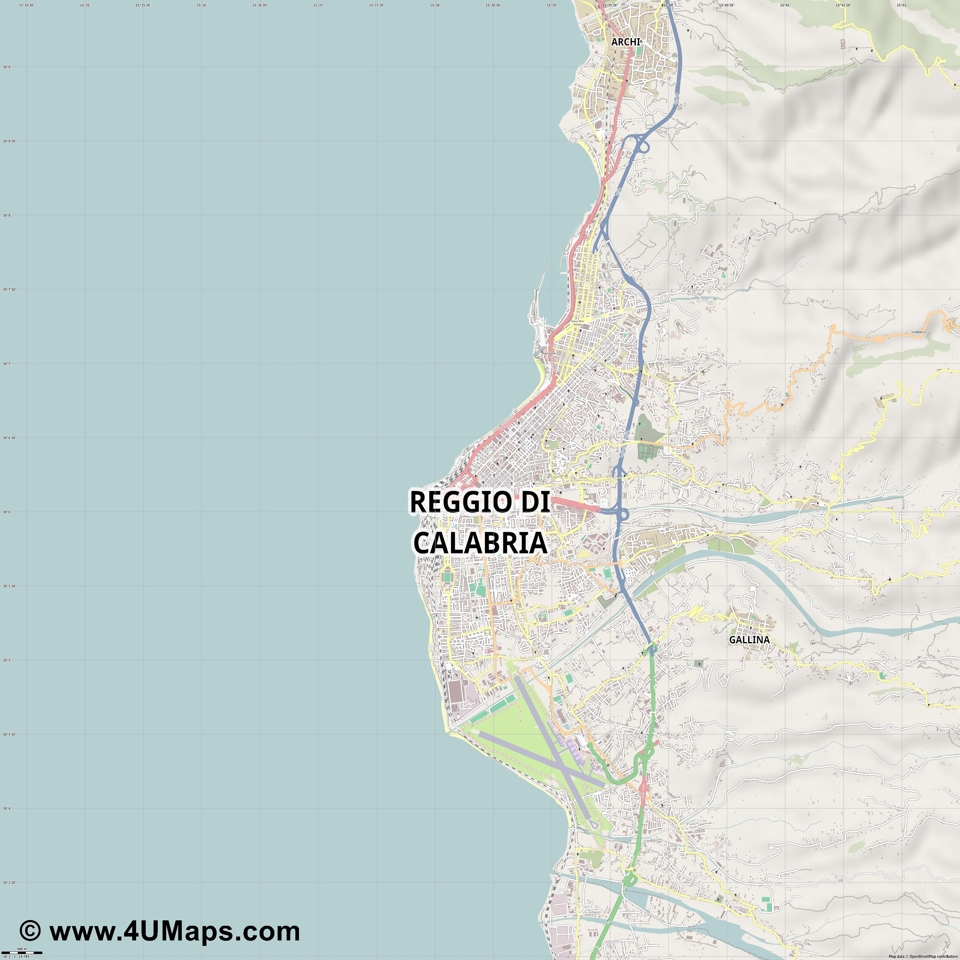 Reggio di Calabria Regio de Calabria Reggio de Calabre  jpg ultra high detail preview vector city map