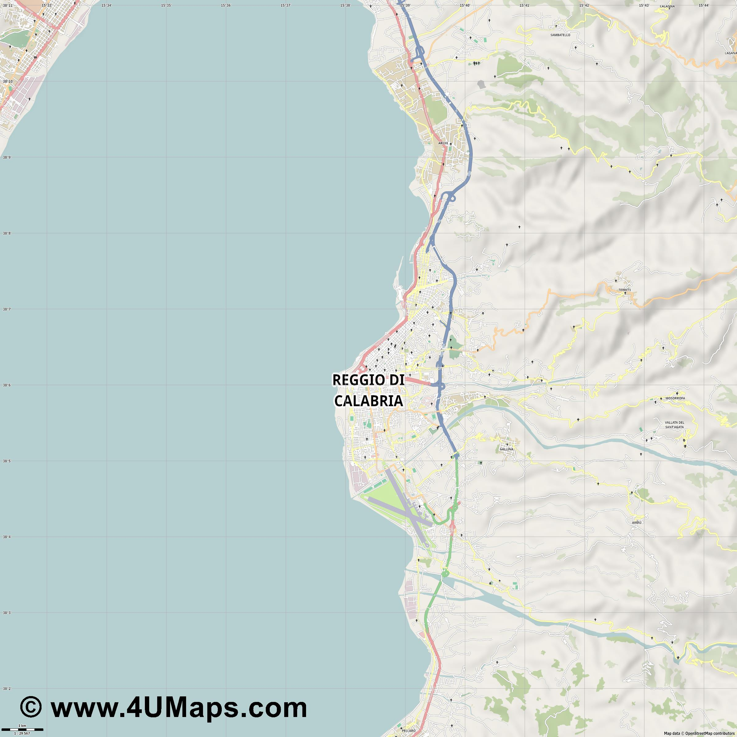 Reggio di Calabria Regio de Calabria Reggio de Calabre  jpg high detail, large area preview vector city map