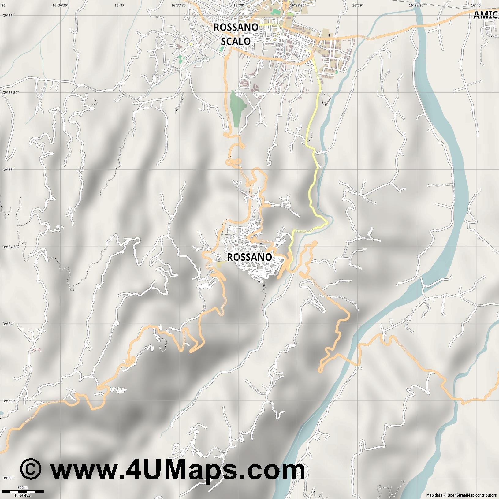 Rossano  jpg ultra high detail preview vector city map