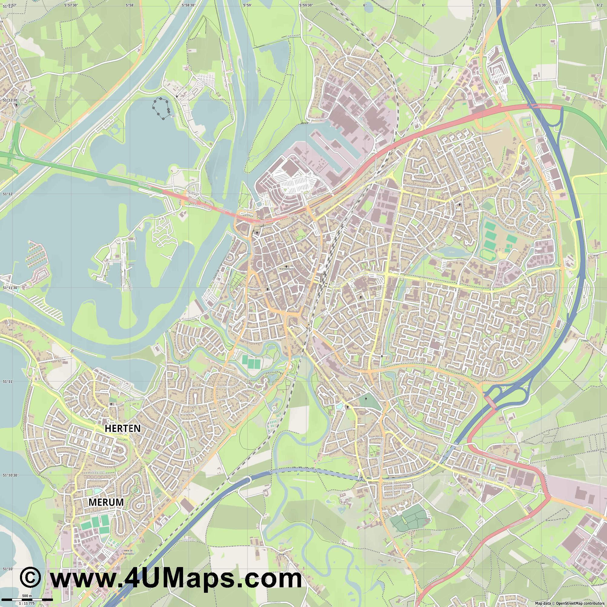 Roermond  jpg ultra high detail preview vector city map