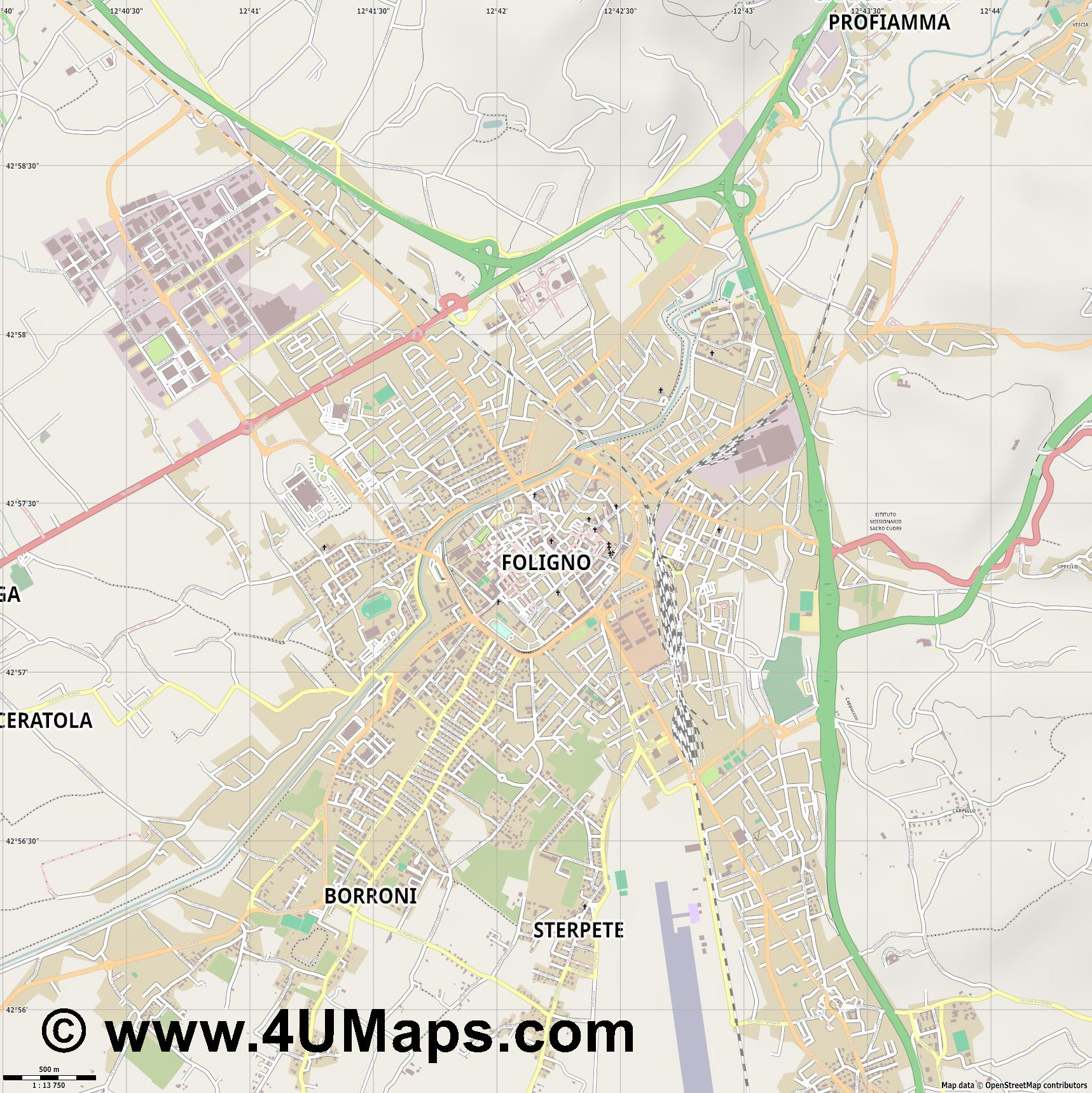 Foligno  jpg ultra high detail preview vector city map
