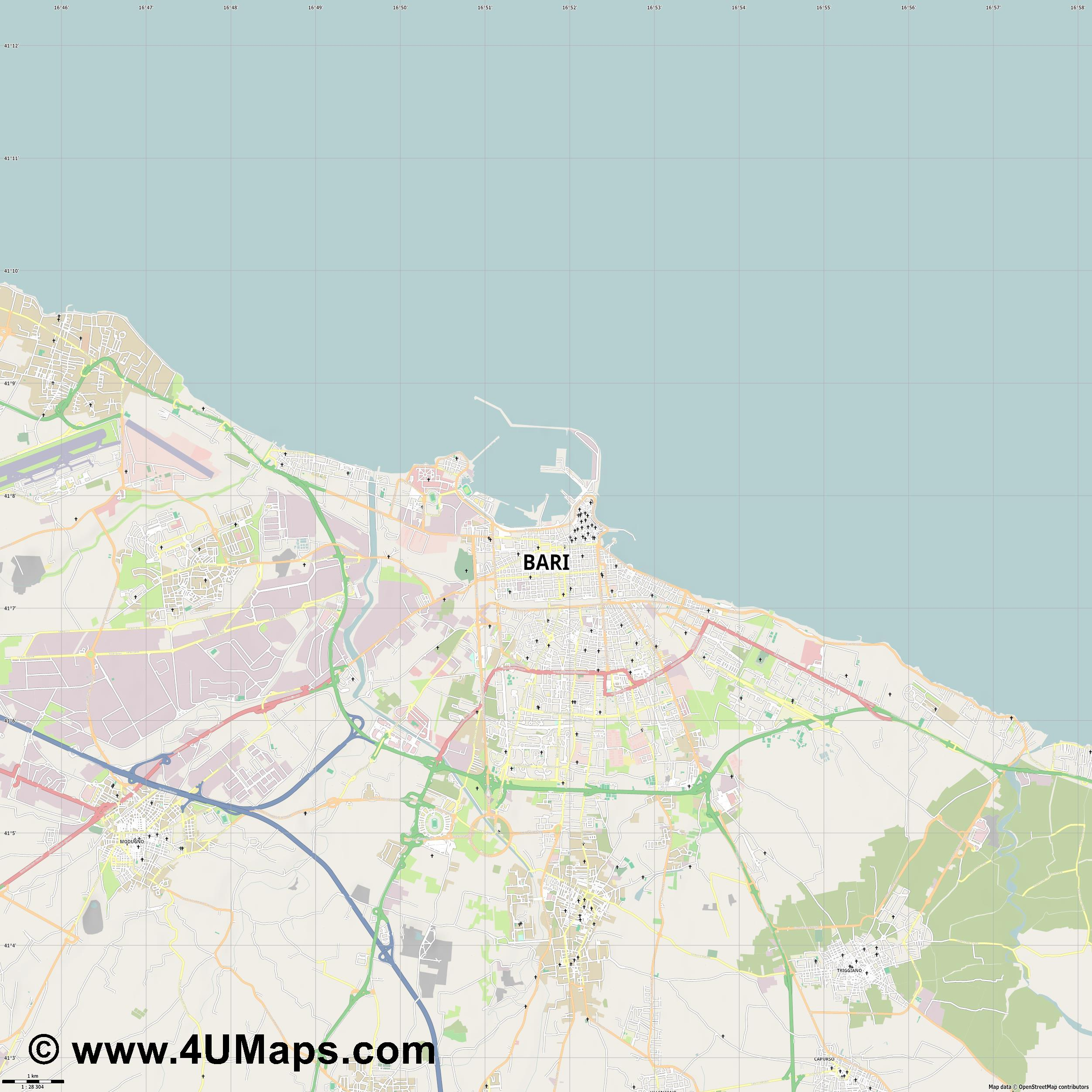 Bari  jpg high detail, large area preview vector city map