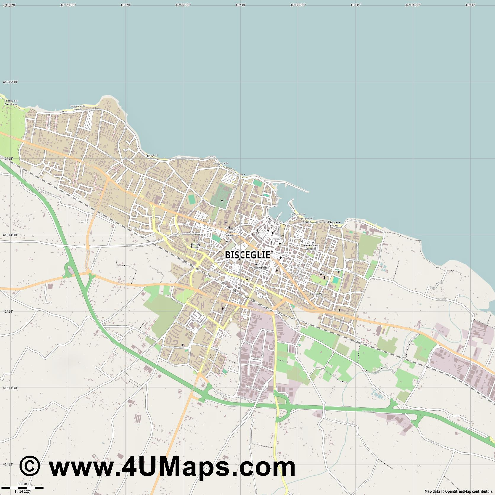 Bisceglie  jpg ultra high detail preview vector city map