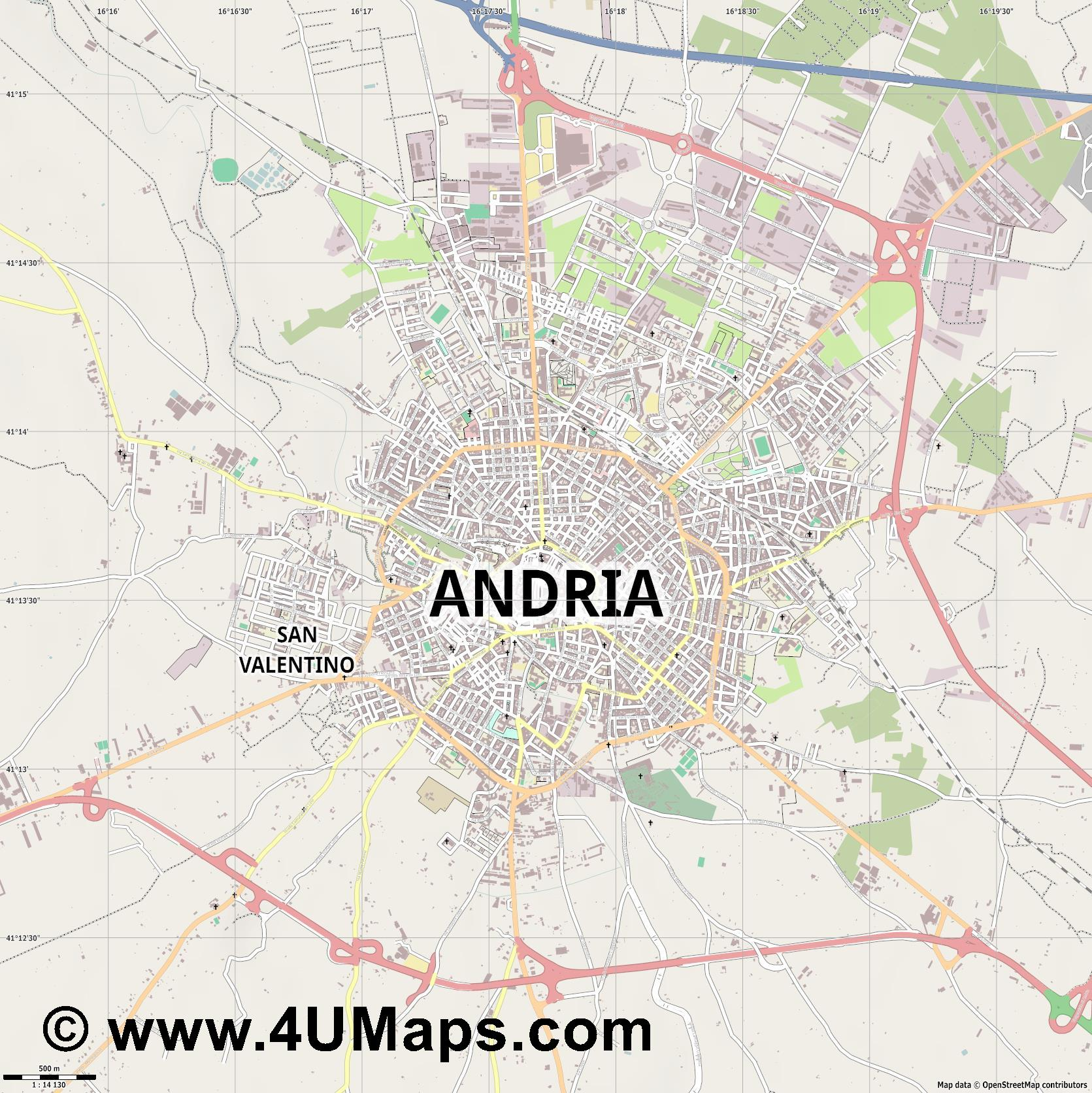 Andria  jpg ultra high detail preview vector city map
