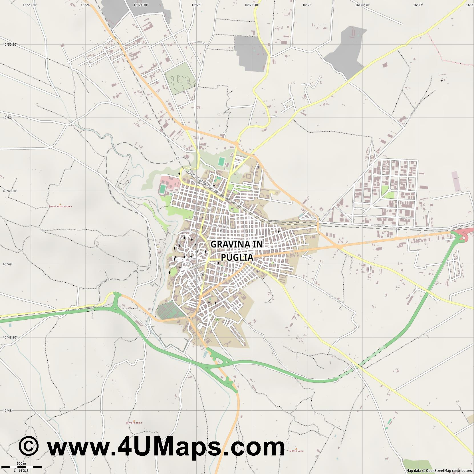 Gravina in Puglia  jpg ultra high detail preview vector city map